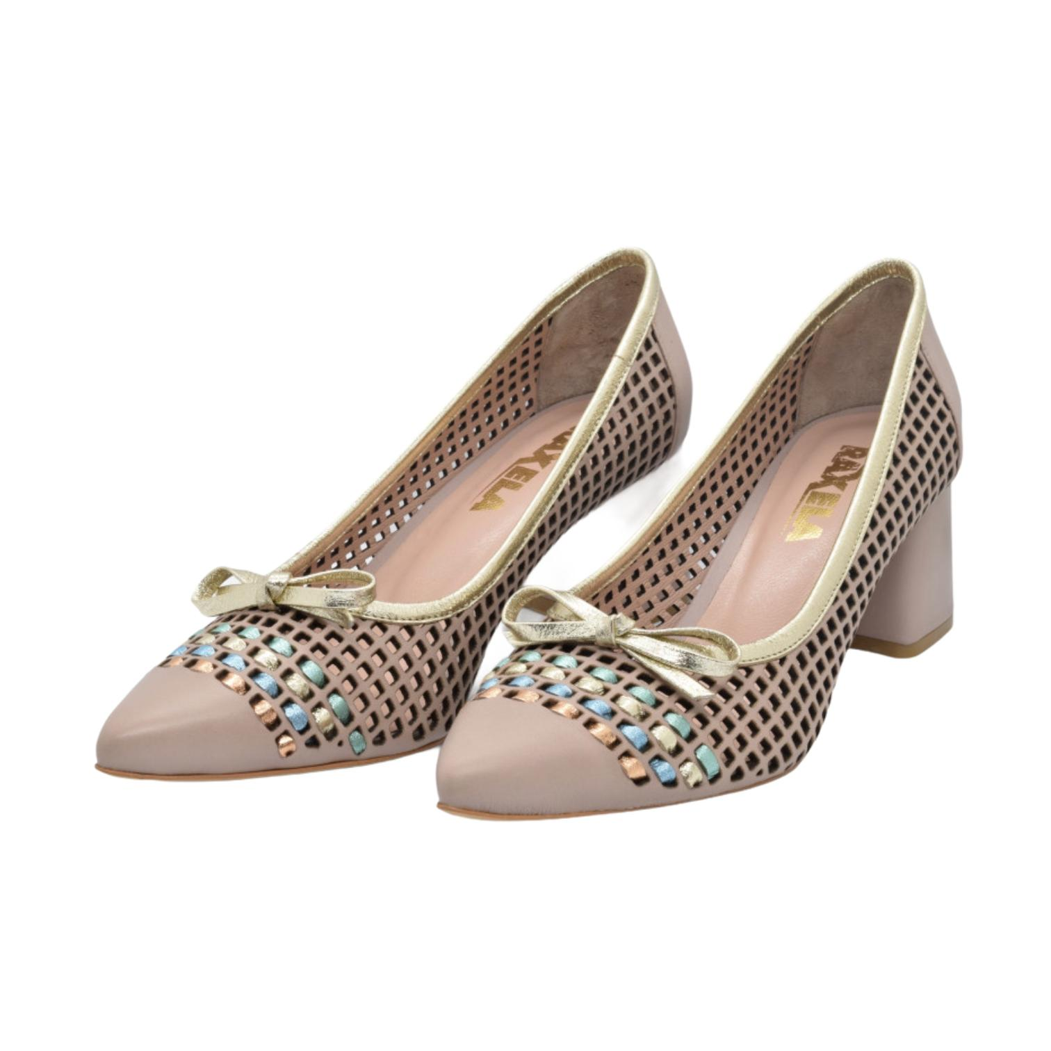 Pantofi nude cu fundita si detaliu colorat