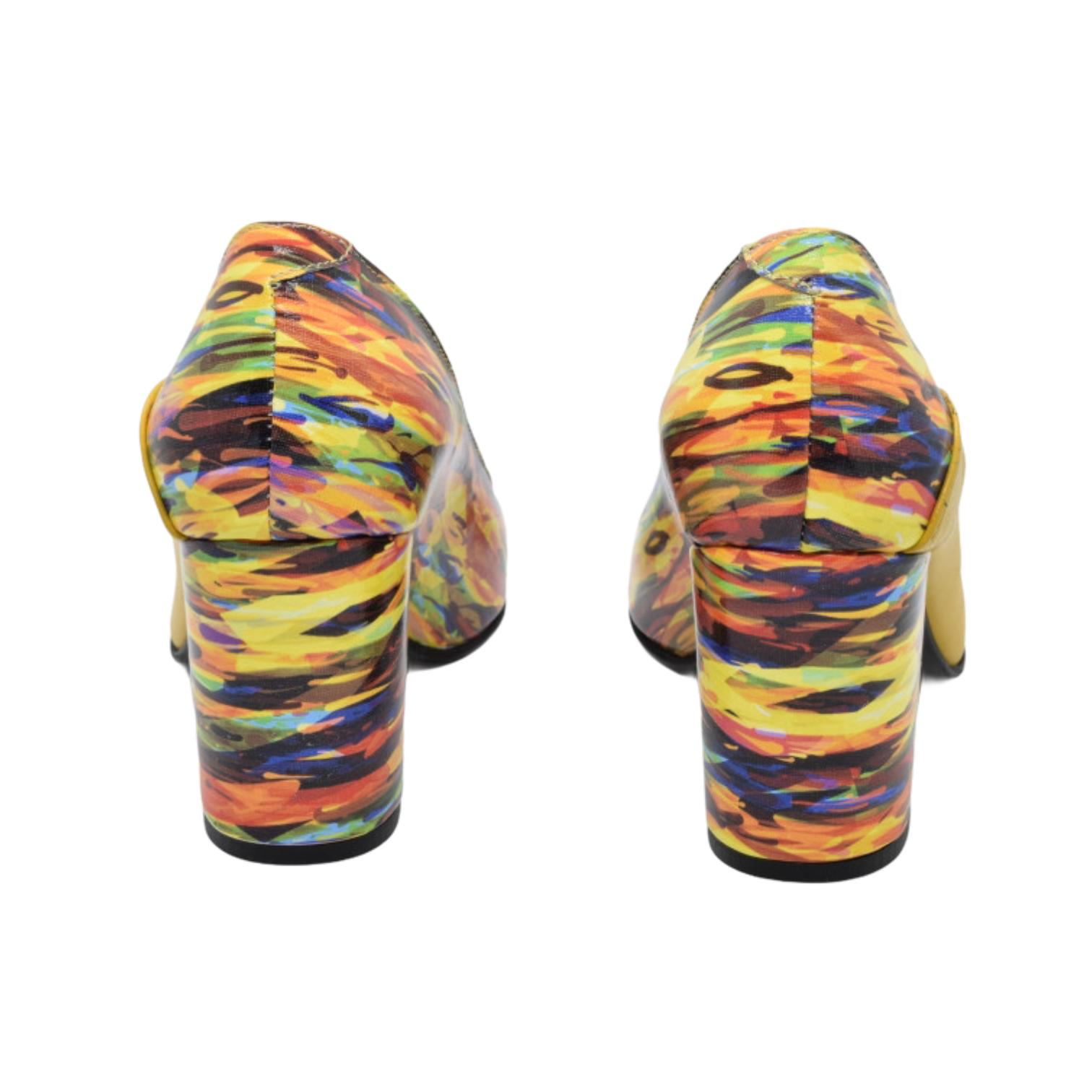 Pantofi galbeni cu model abstract in dungi
