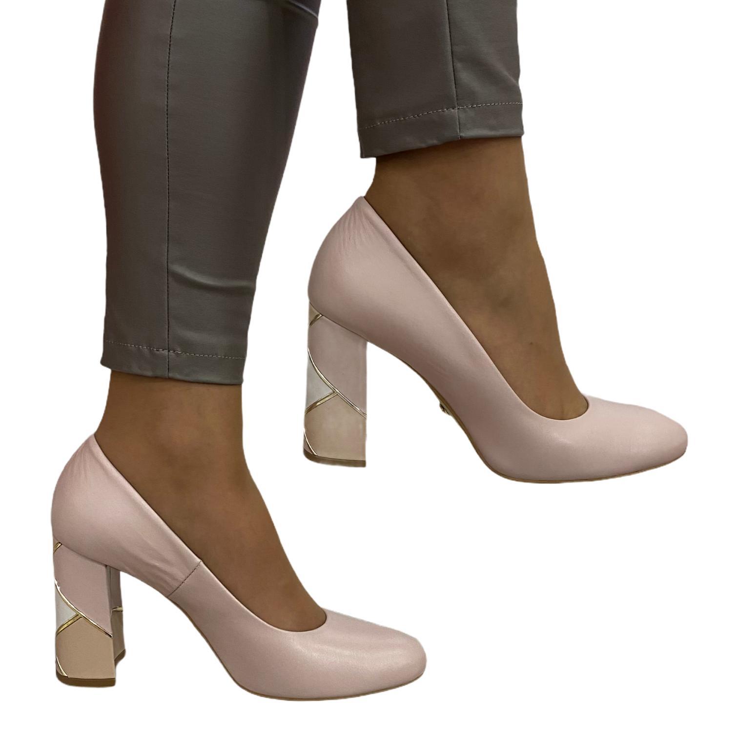 Pantofi Kordel roz cu toc cu model