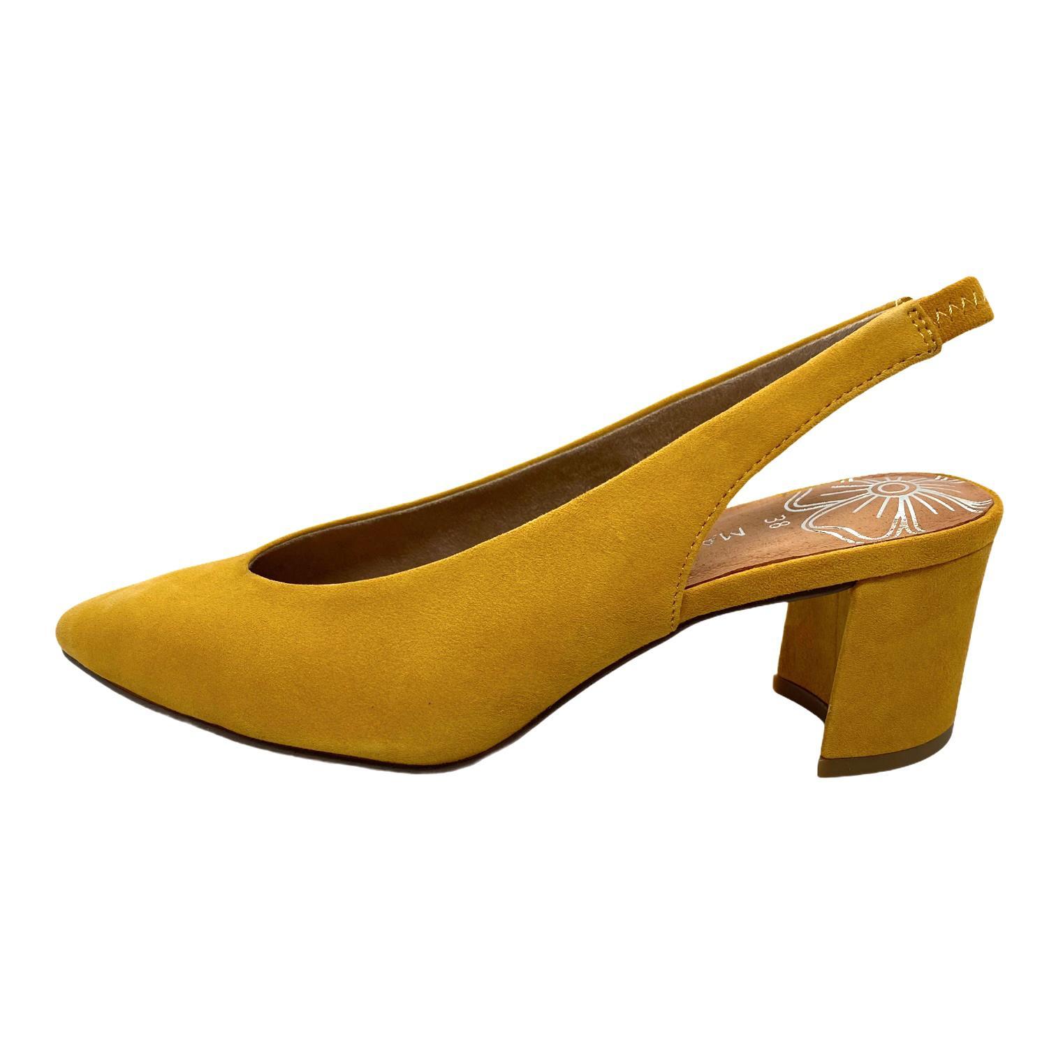 Pantofi Marco Tozzi galbeni decupati in spate