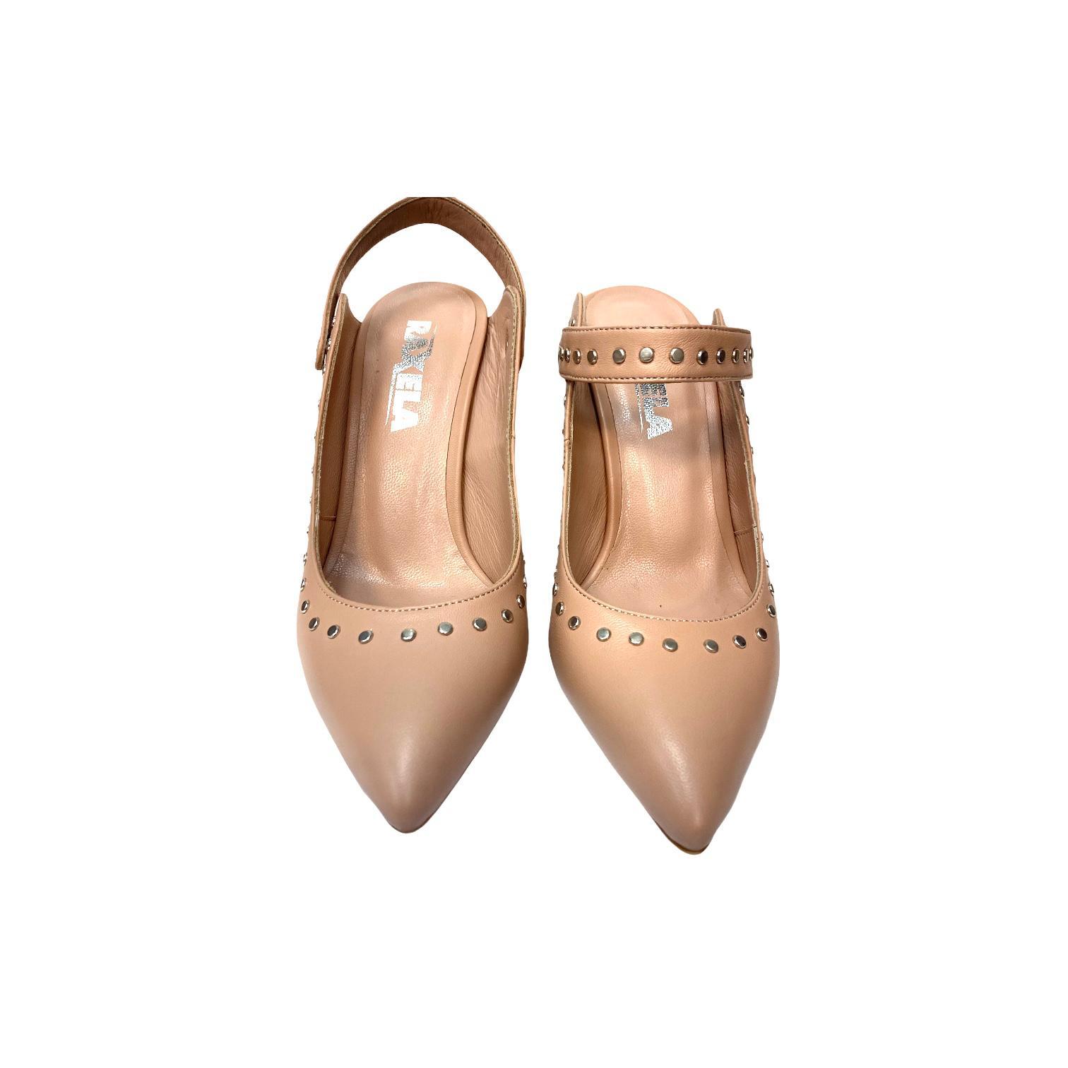 Pantofi decupati nude cu detalii