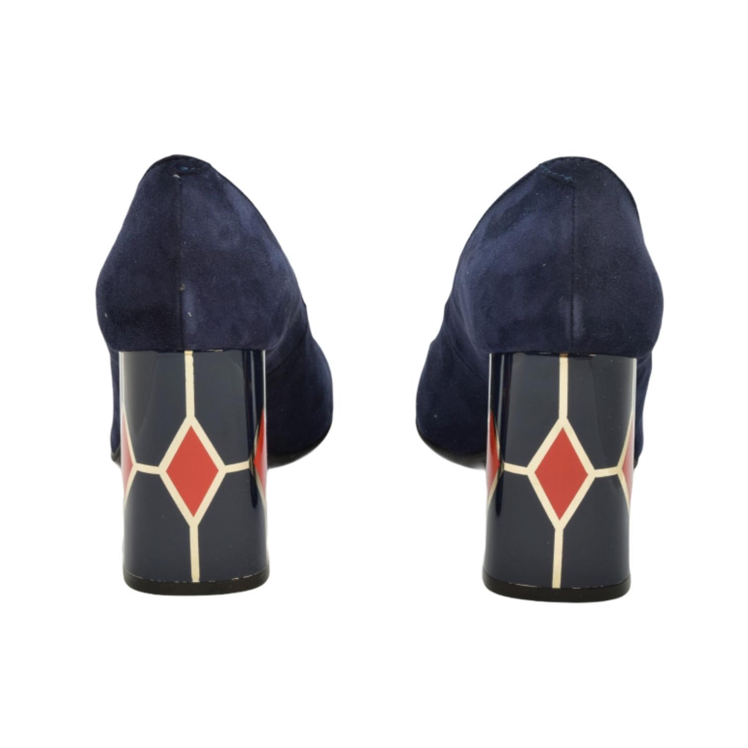 Pantofi bleumarin cu toc cu model rosu