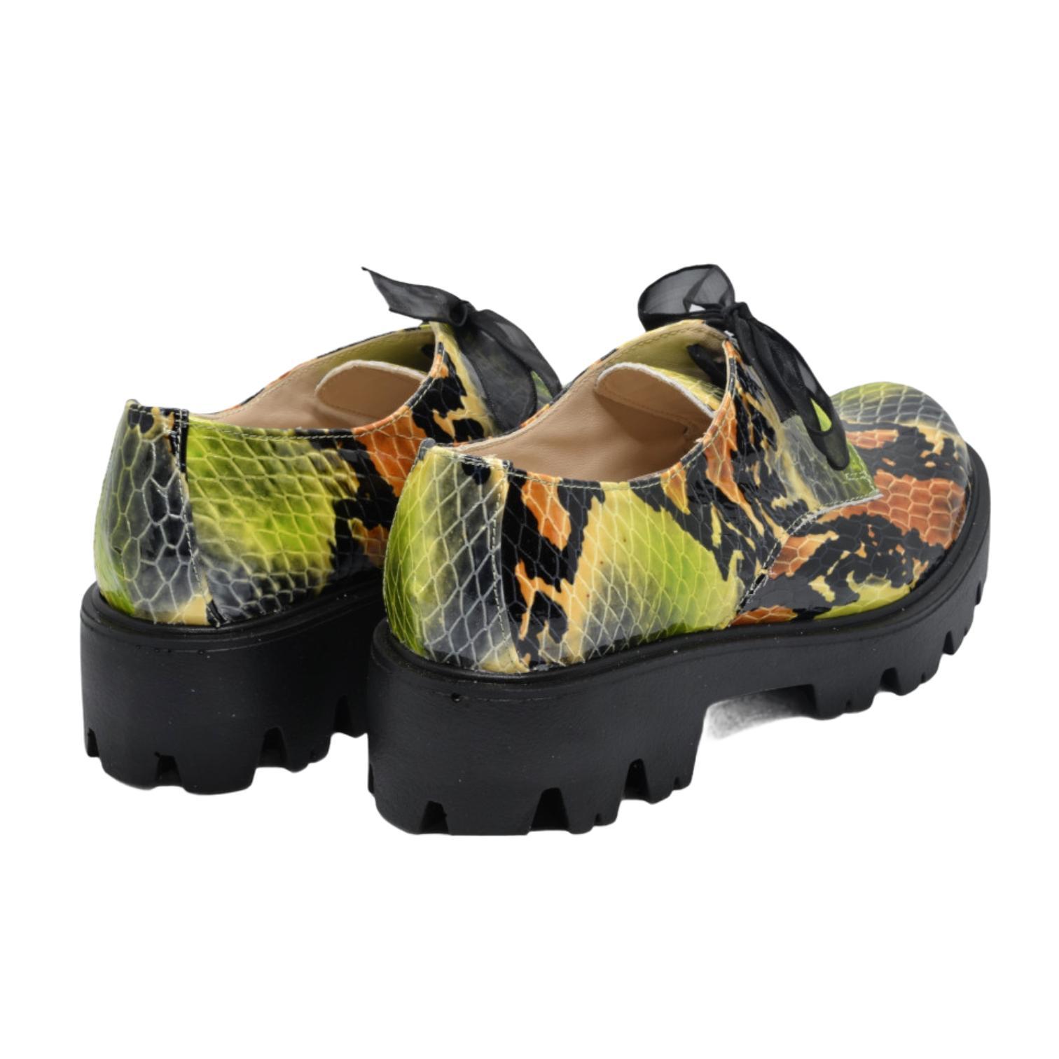 Pantofi verzi tip crocodil cu platforma