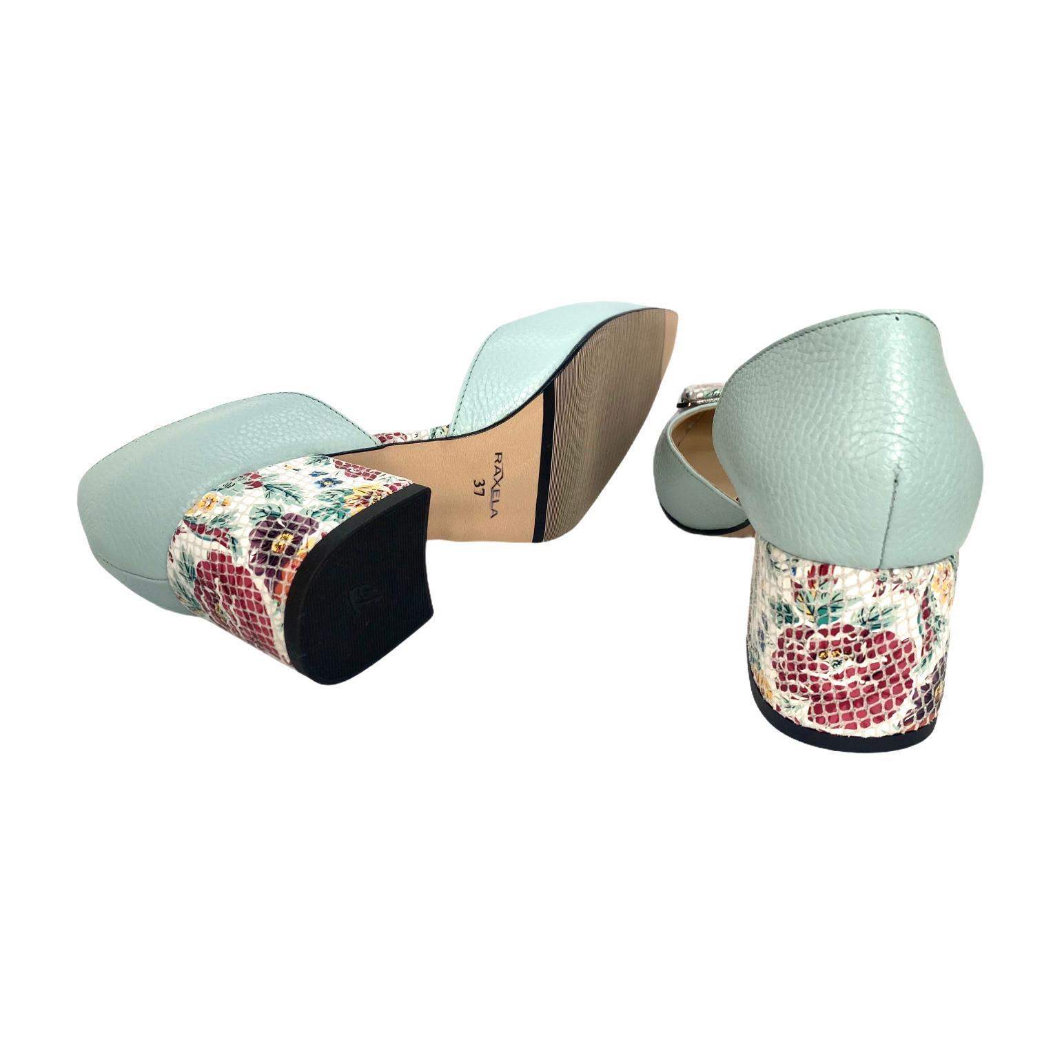 Pantofi decupati vernil cu accesoriu si toc colorat