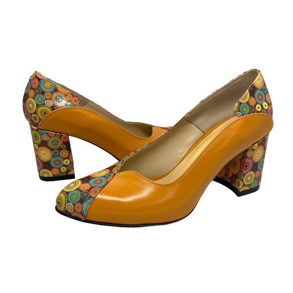 Pantofi kavun combinat cu model colorat