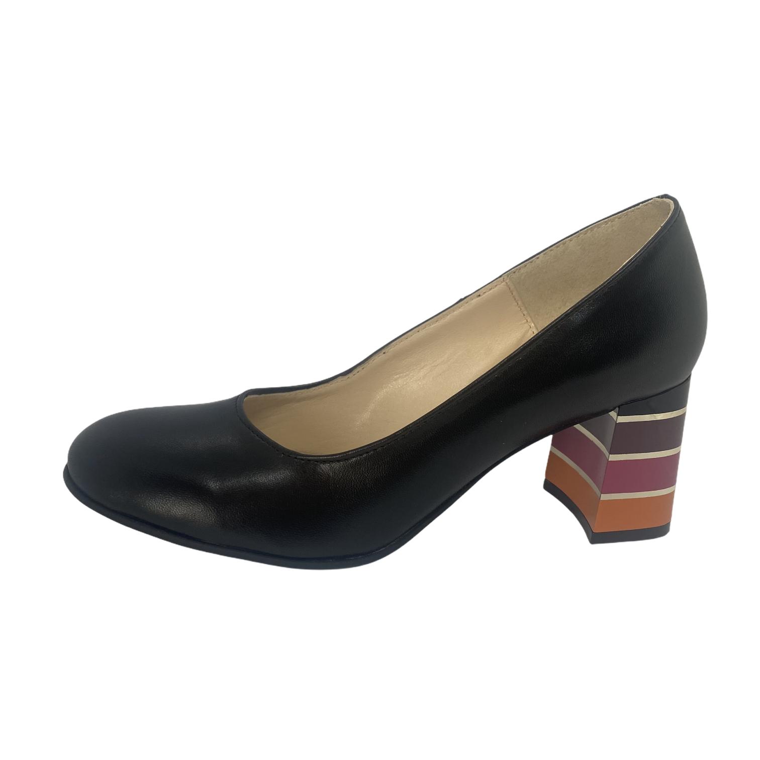 Pantofi negri box cu toc colorat in dungi