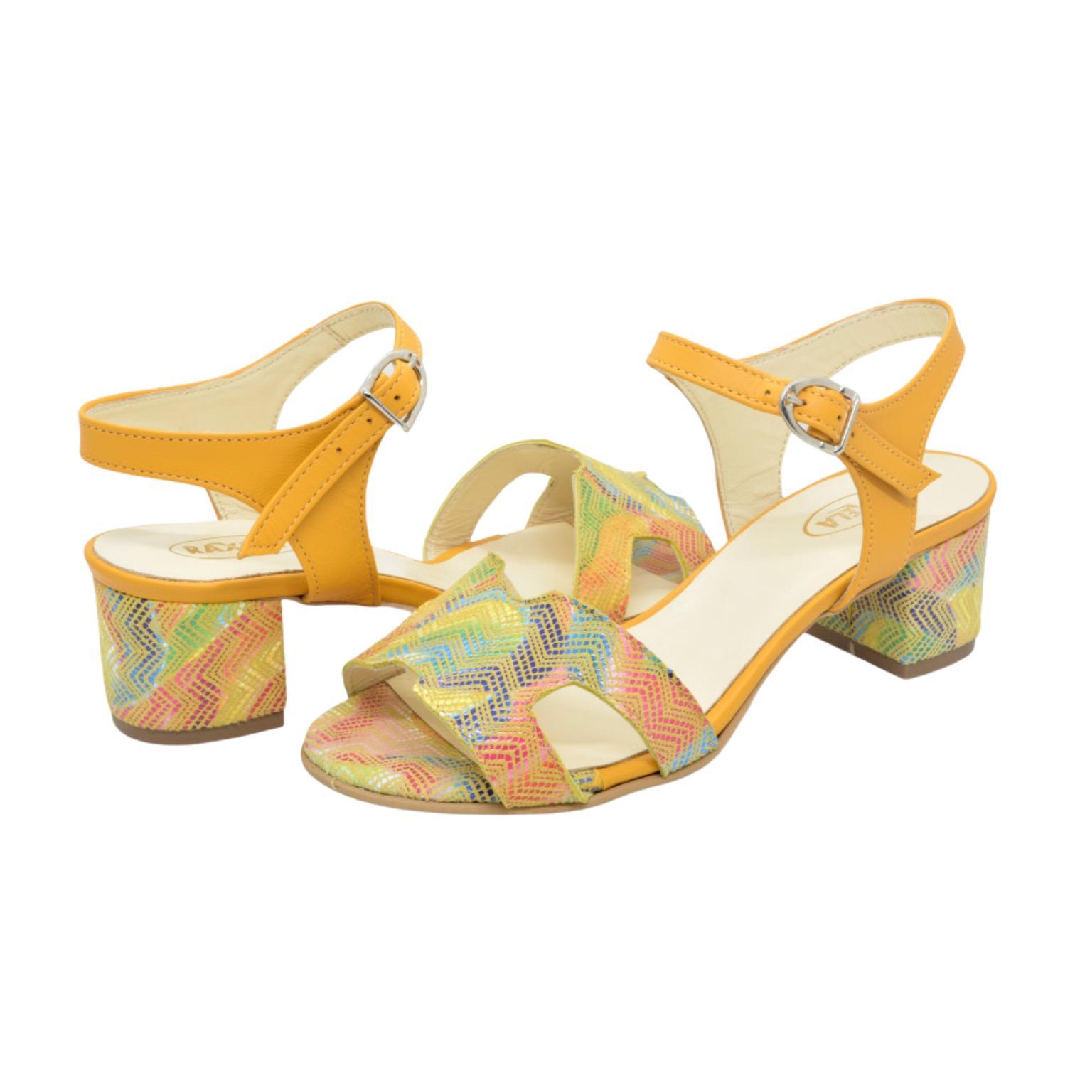 Sandale galbene cu model zig zag