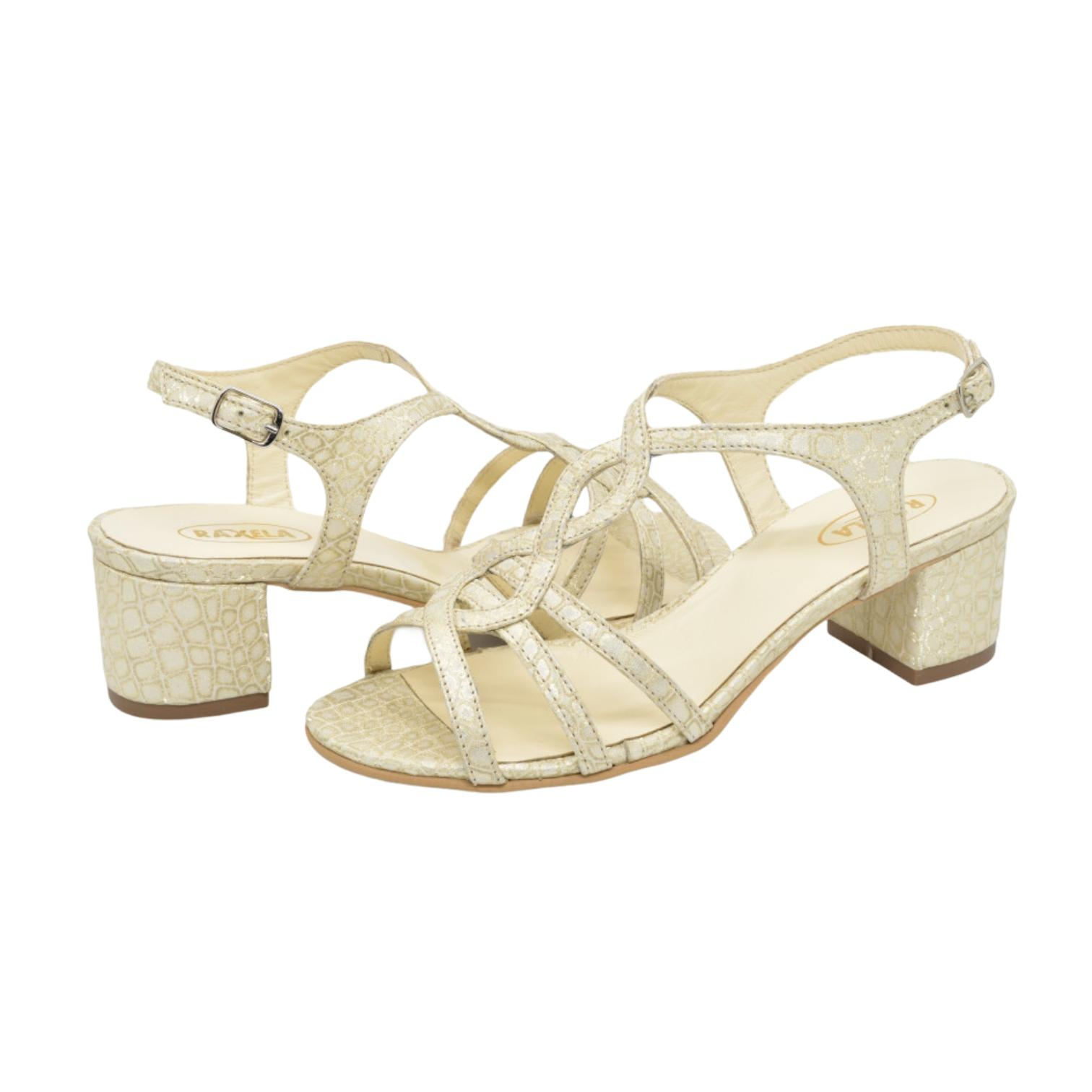 Sandale aurii cu imprimeu abstract
