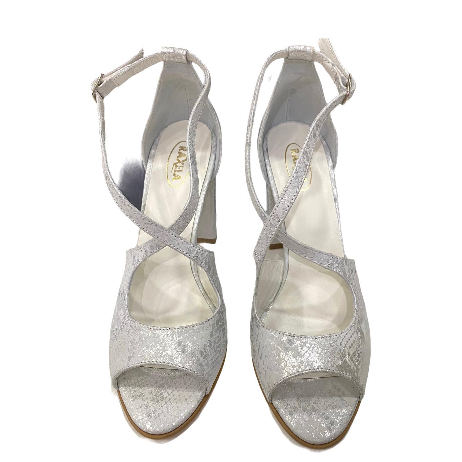 Sandale argintii cu imprimeu abstract si barete incrucisate