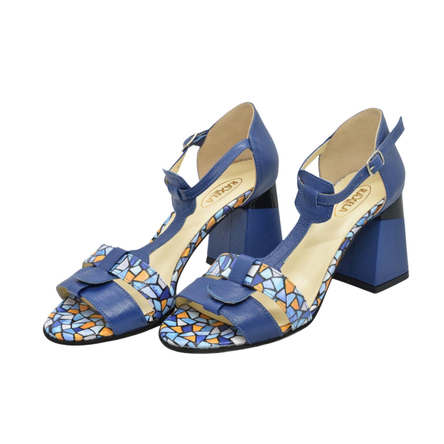 Sandale albastre cu model si toc evazat