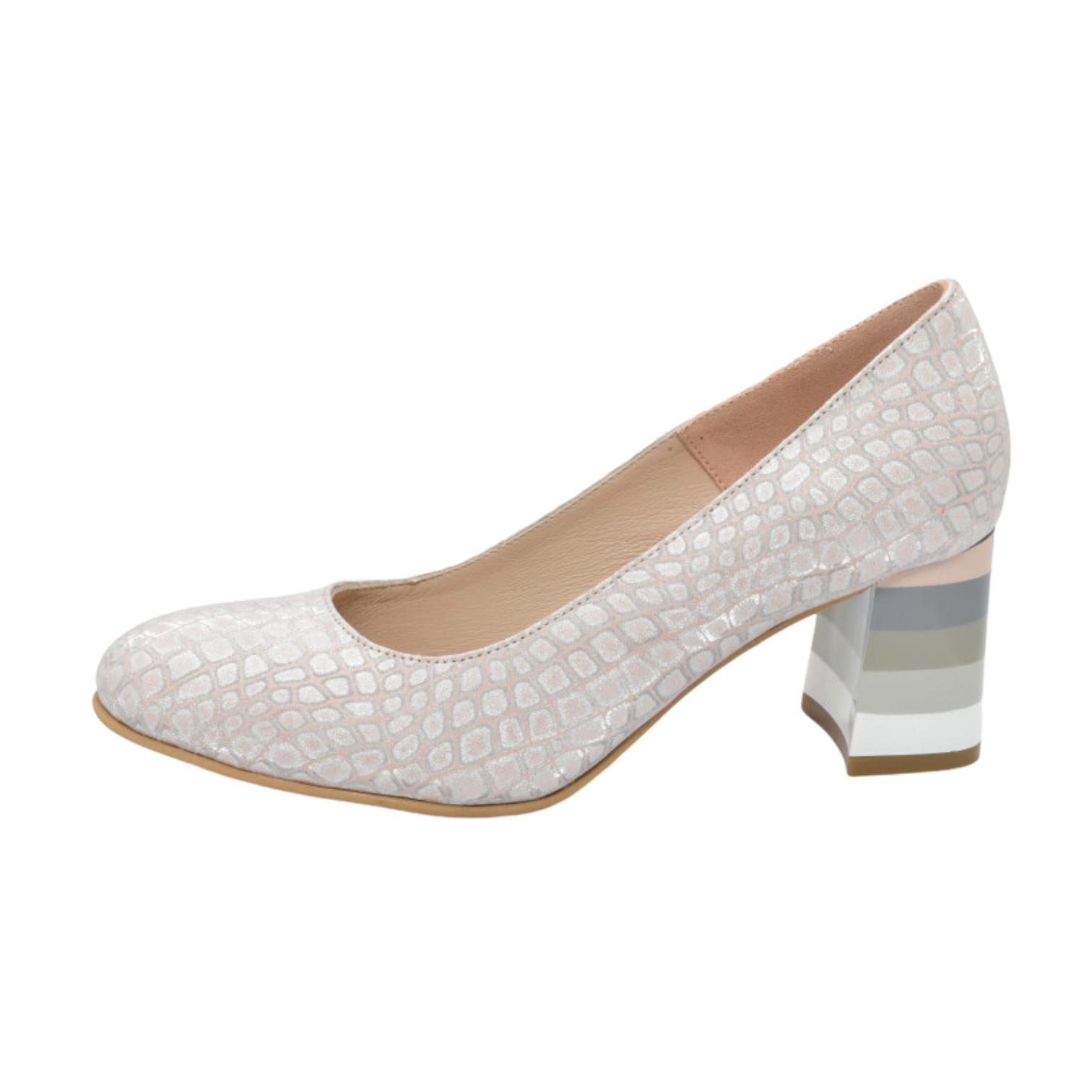 Pantofi roz somon cu toc colorat in dungi