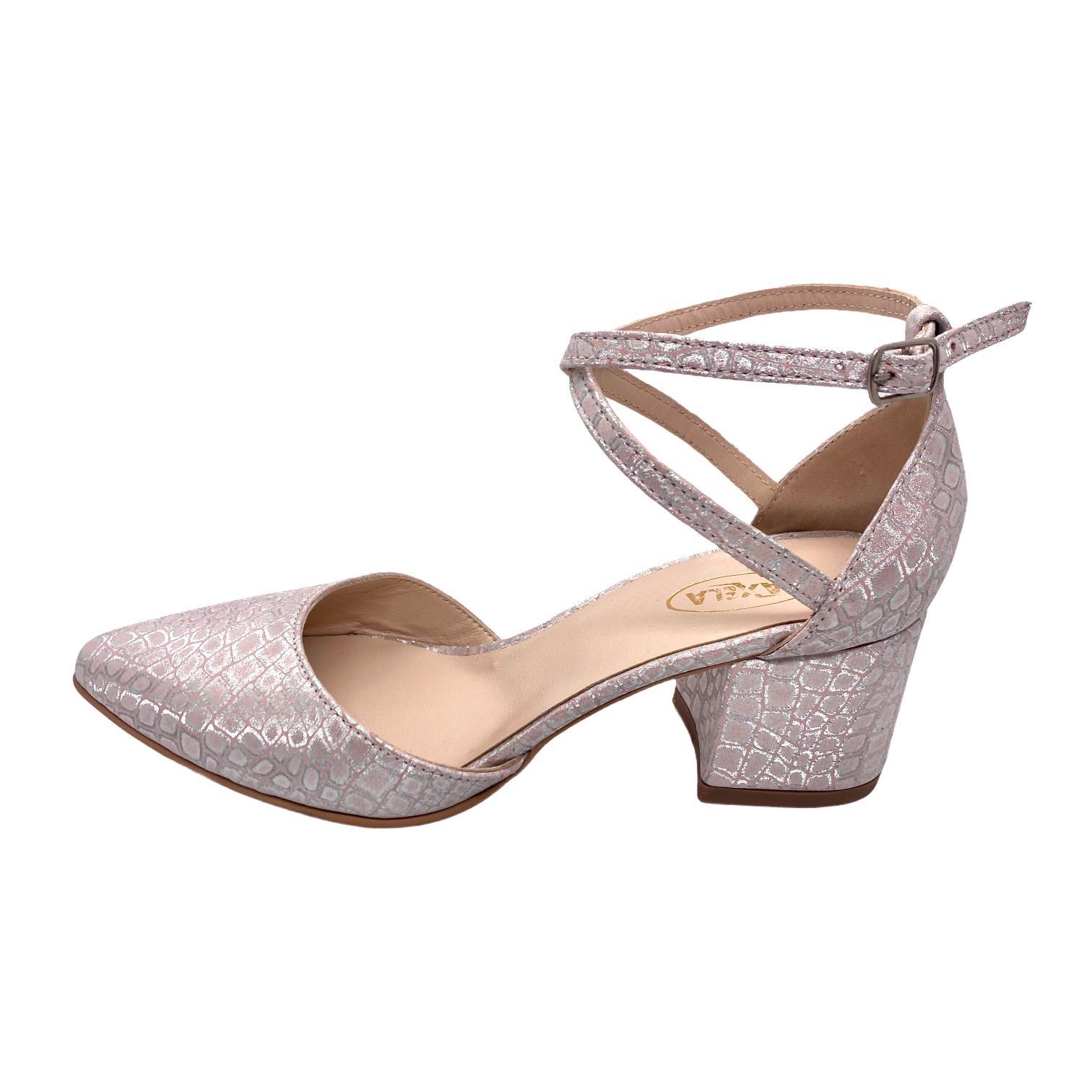 Pantofi decupati somon cu model