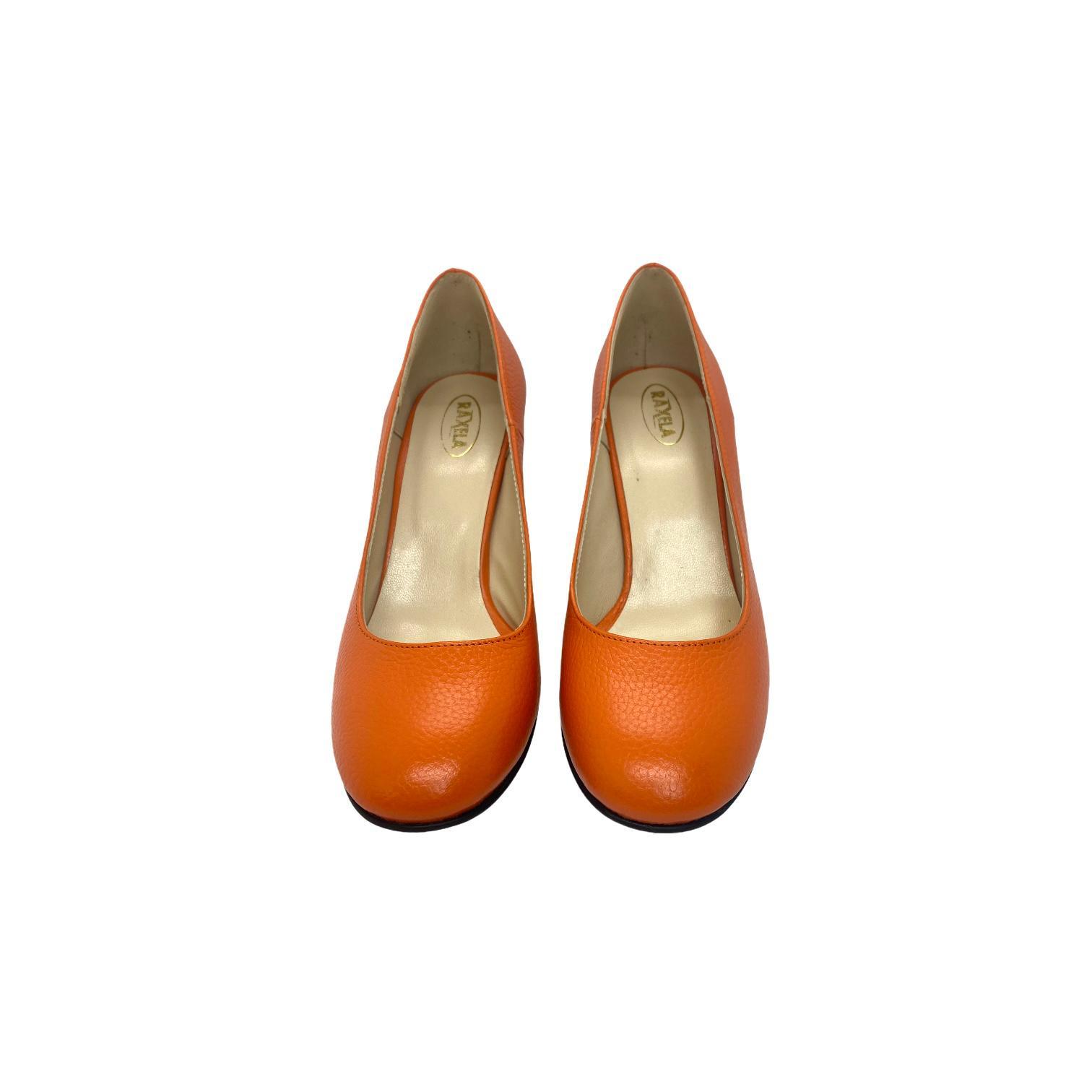 Pantofi portocalii cu toc colorat in dungi