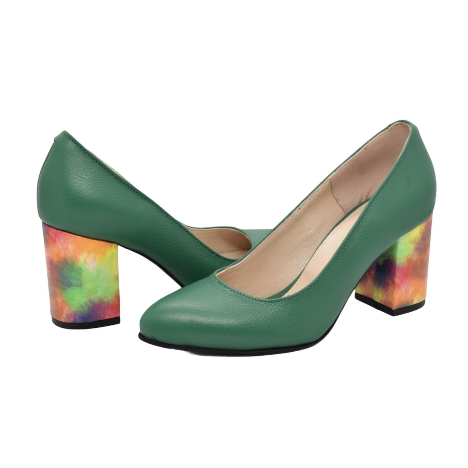 Pantofi verzi cu toc cu model curcubeu