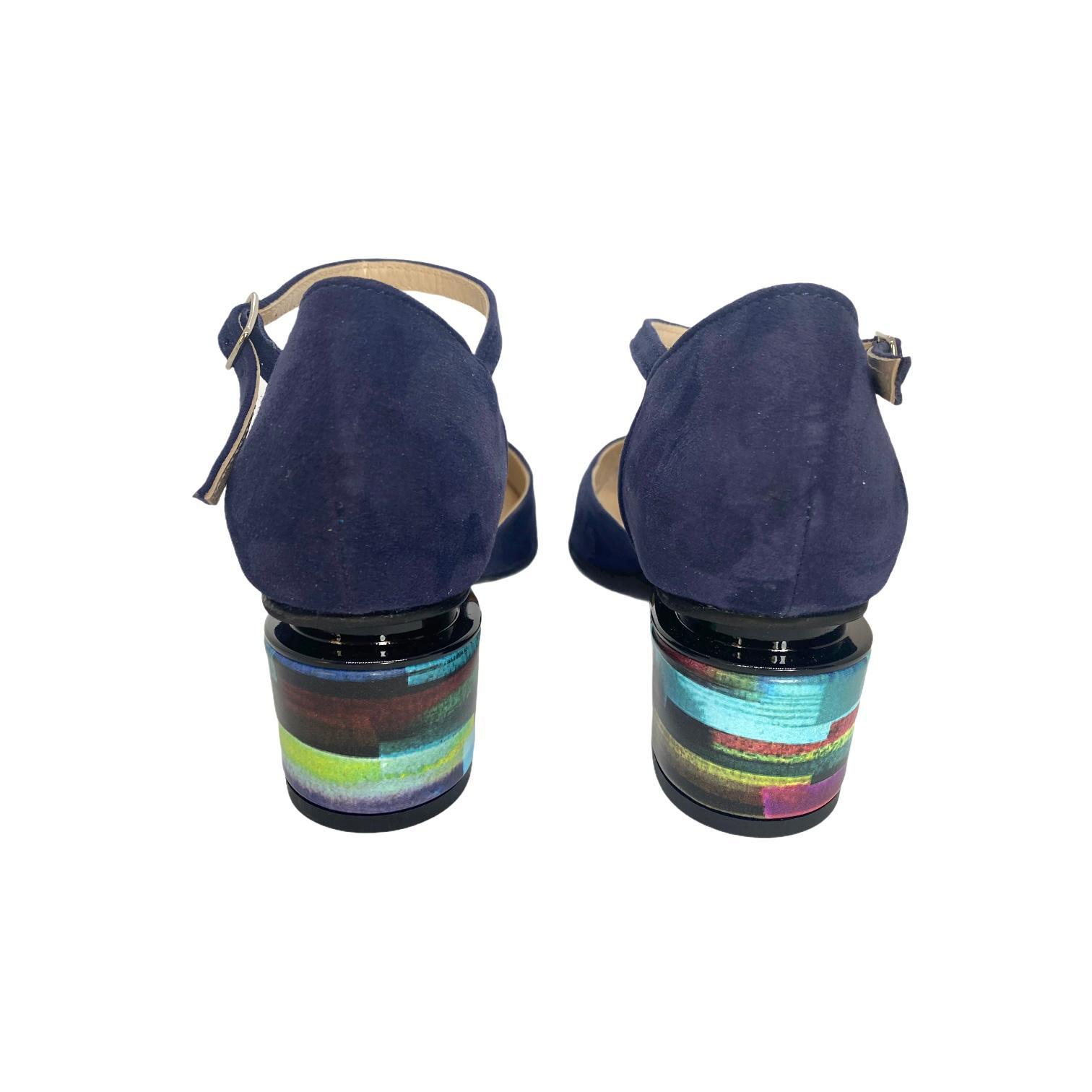 Pantofi decupati bleumarin decupati cu toc ortopedic