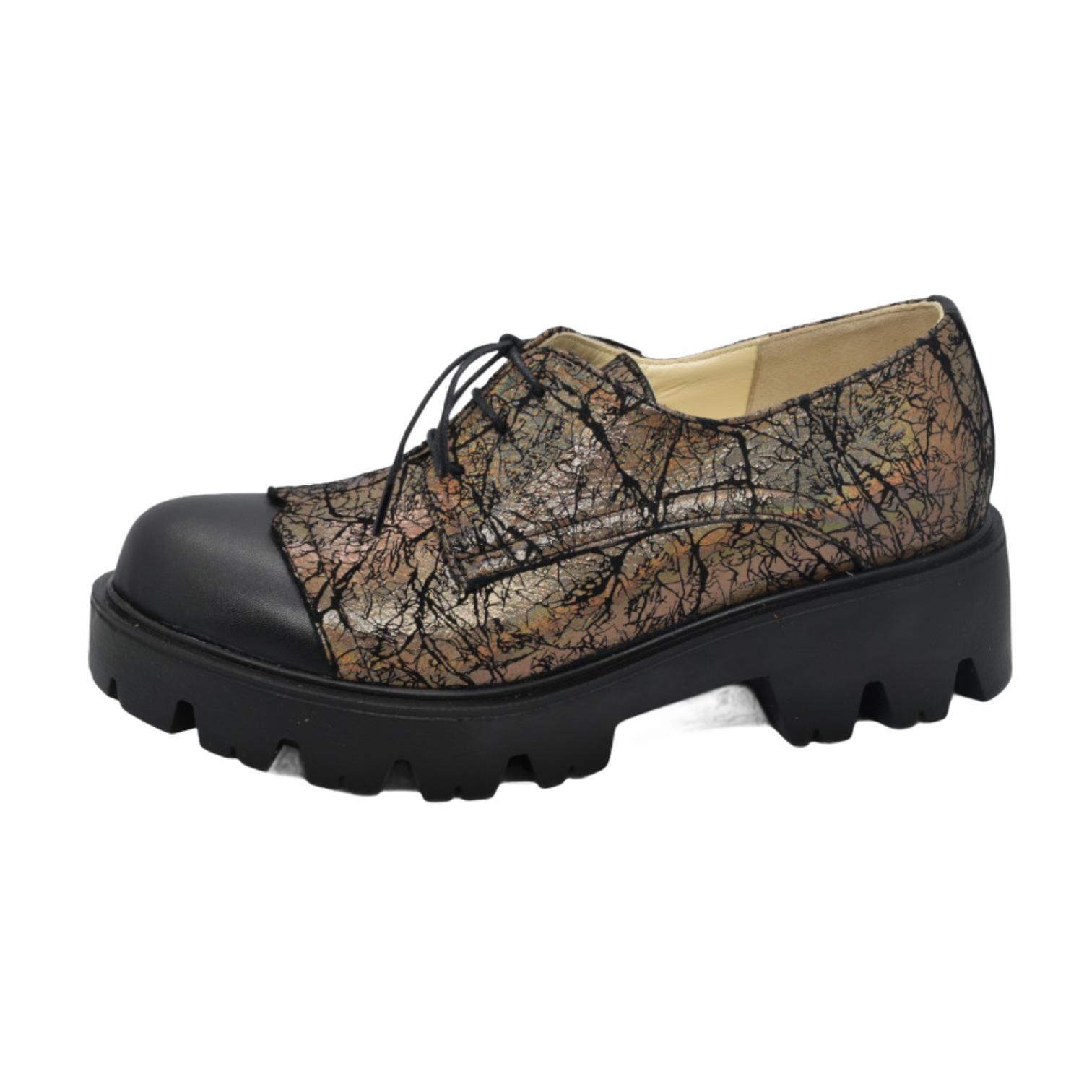 Pantofi negri combinati cu piele aramie