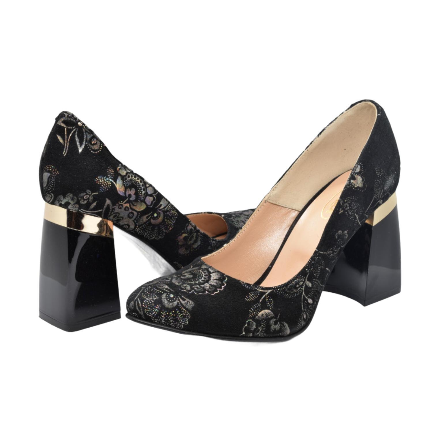 Pantofi negri cu imprimeu floral argintiu si toc evazat