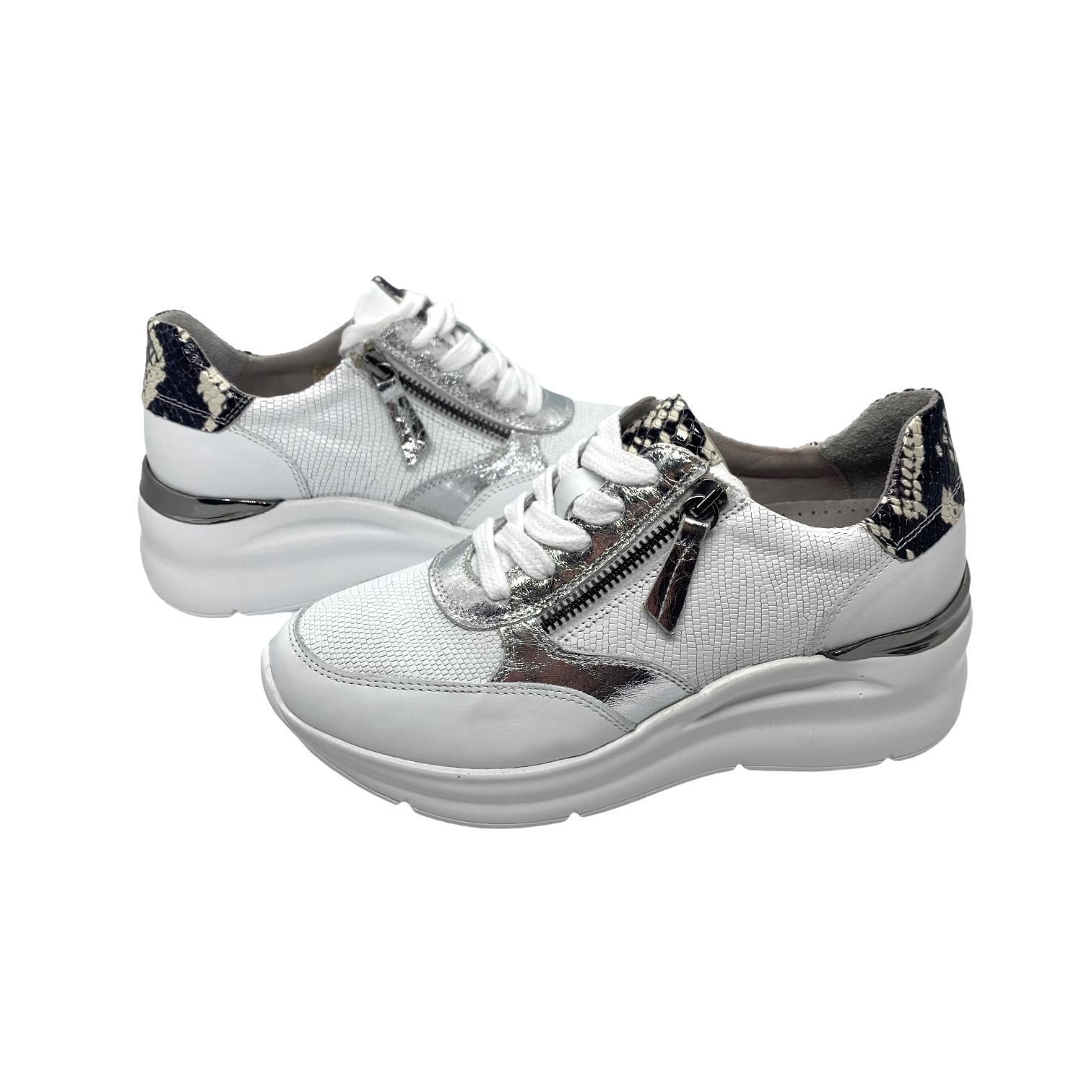 Pantofi sport albi combinat cu argintiu si fermoar