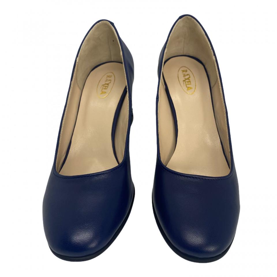 Pantofi albastri cu toc cu aplicatii sferice