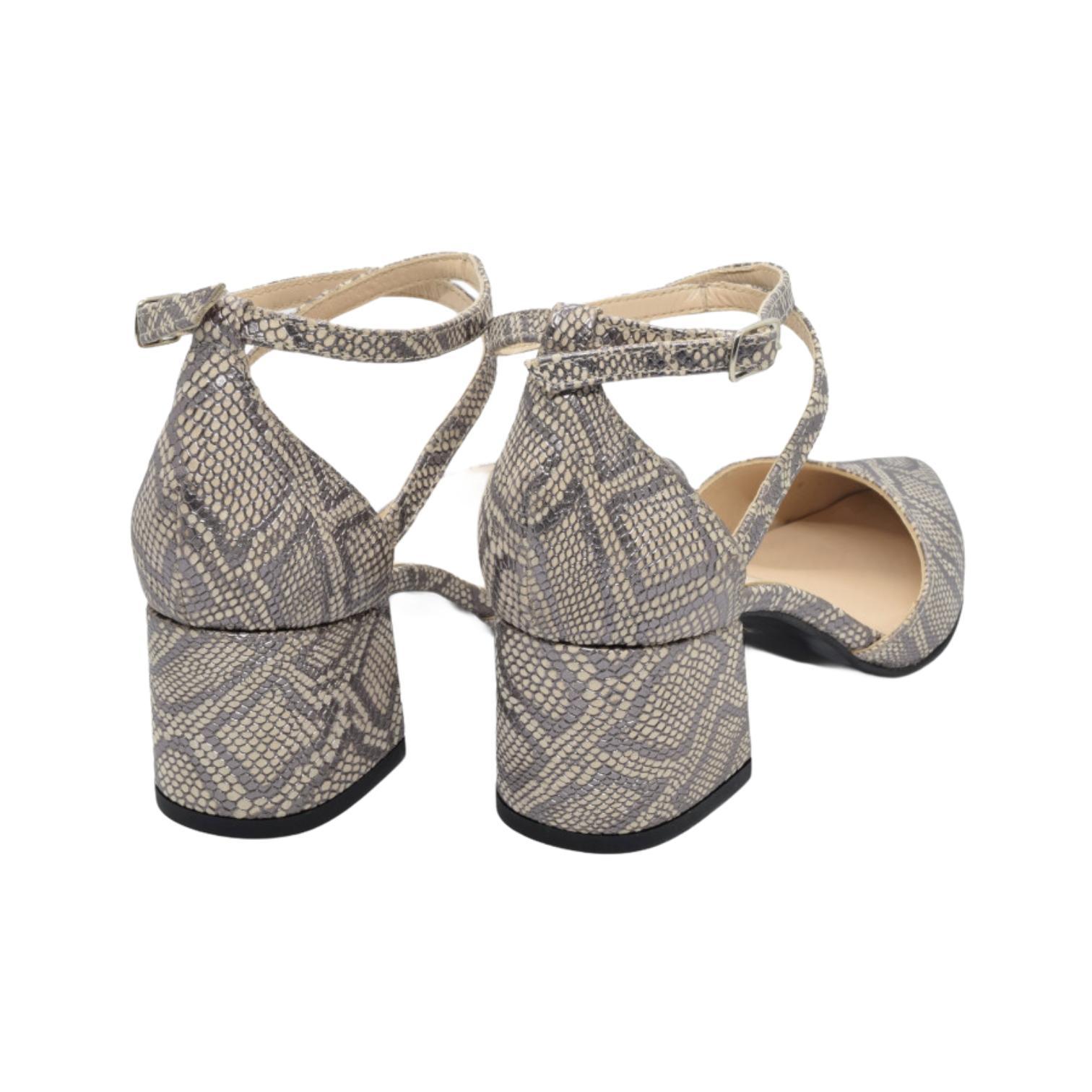 Pantofi decupati platin tip iguana