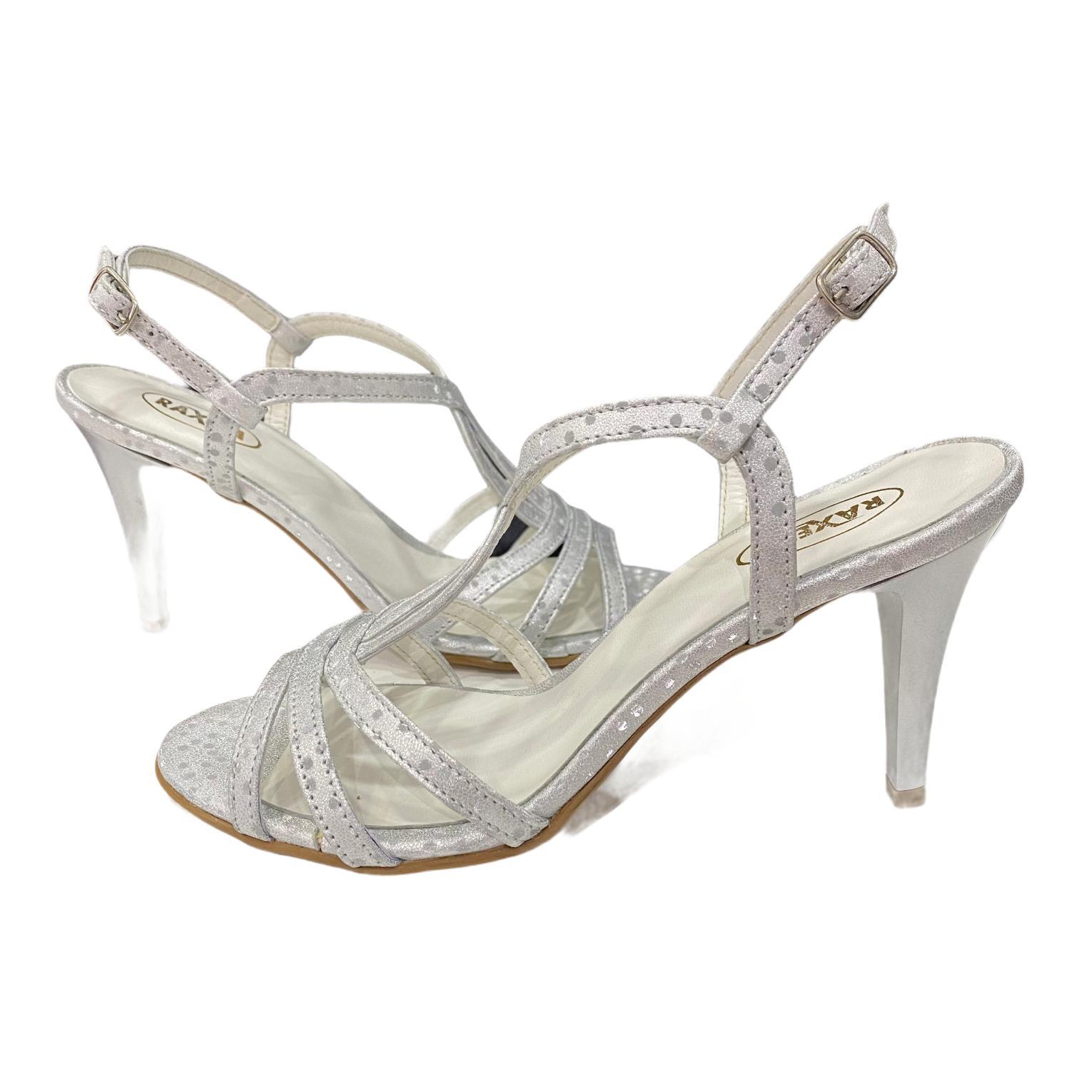 Sandale argintii cu imprimeu cu buline