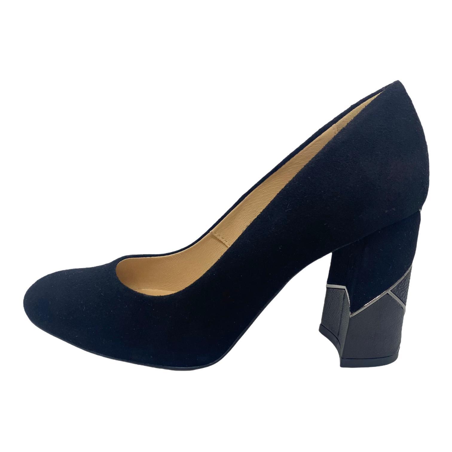Pantofi Kordel negri cu toc cu model