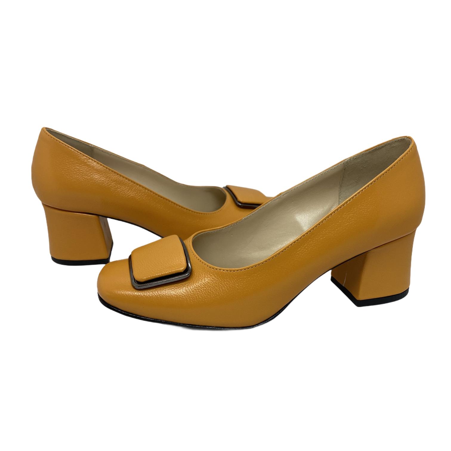 Pantofi galben kavun cu accesoriu