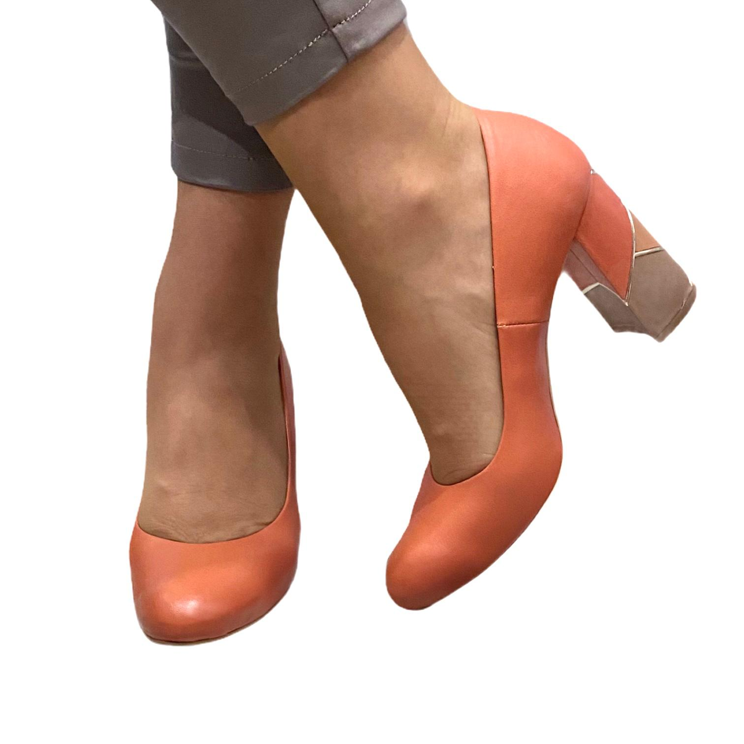 Pantofi Kordel portocalii cu toc cu model