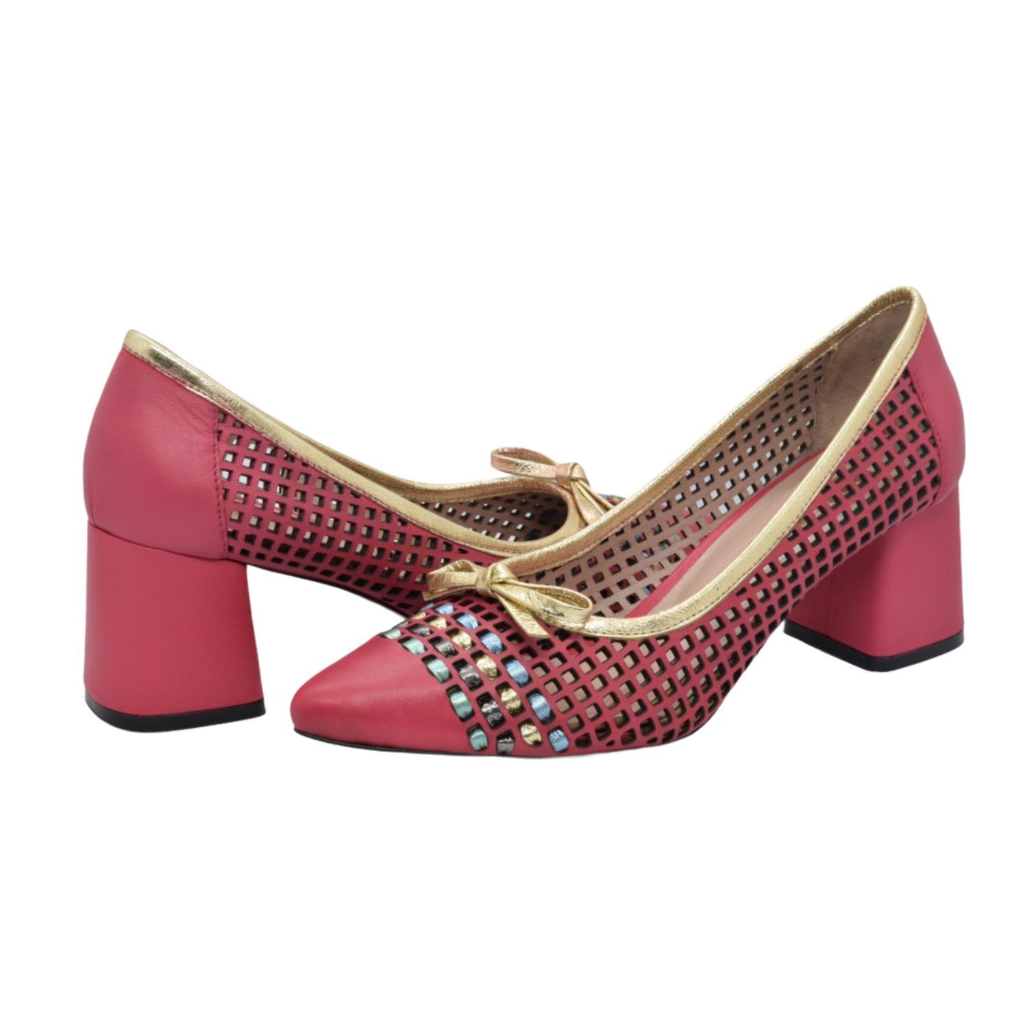 Pantofi fuxia cu fundita si detaliu colorat