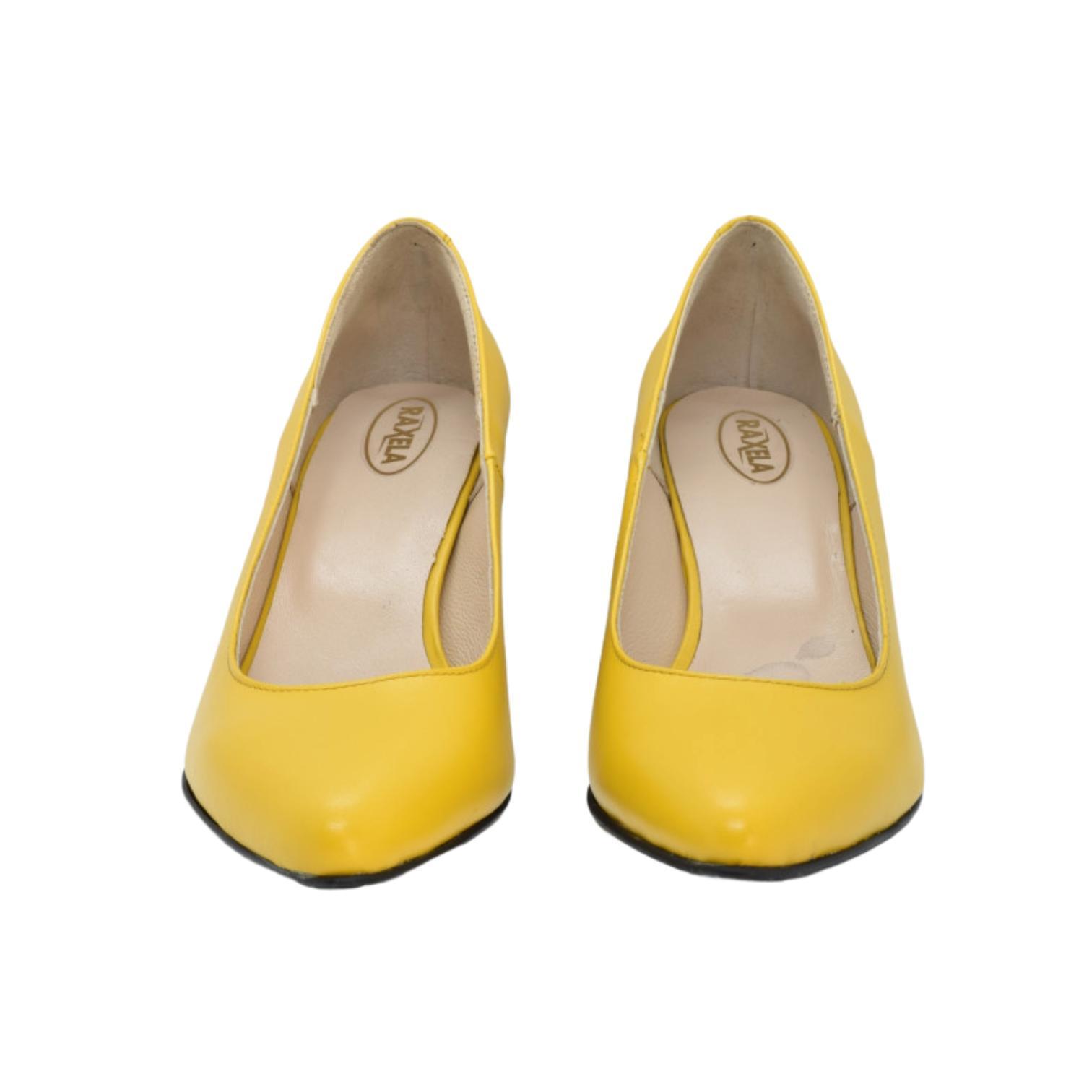 Pantofi galbeni cu toc colorat abstract