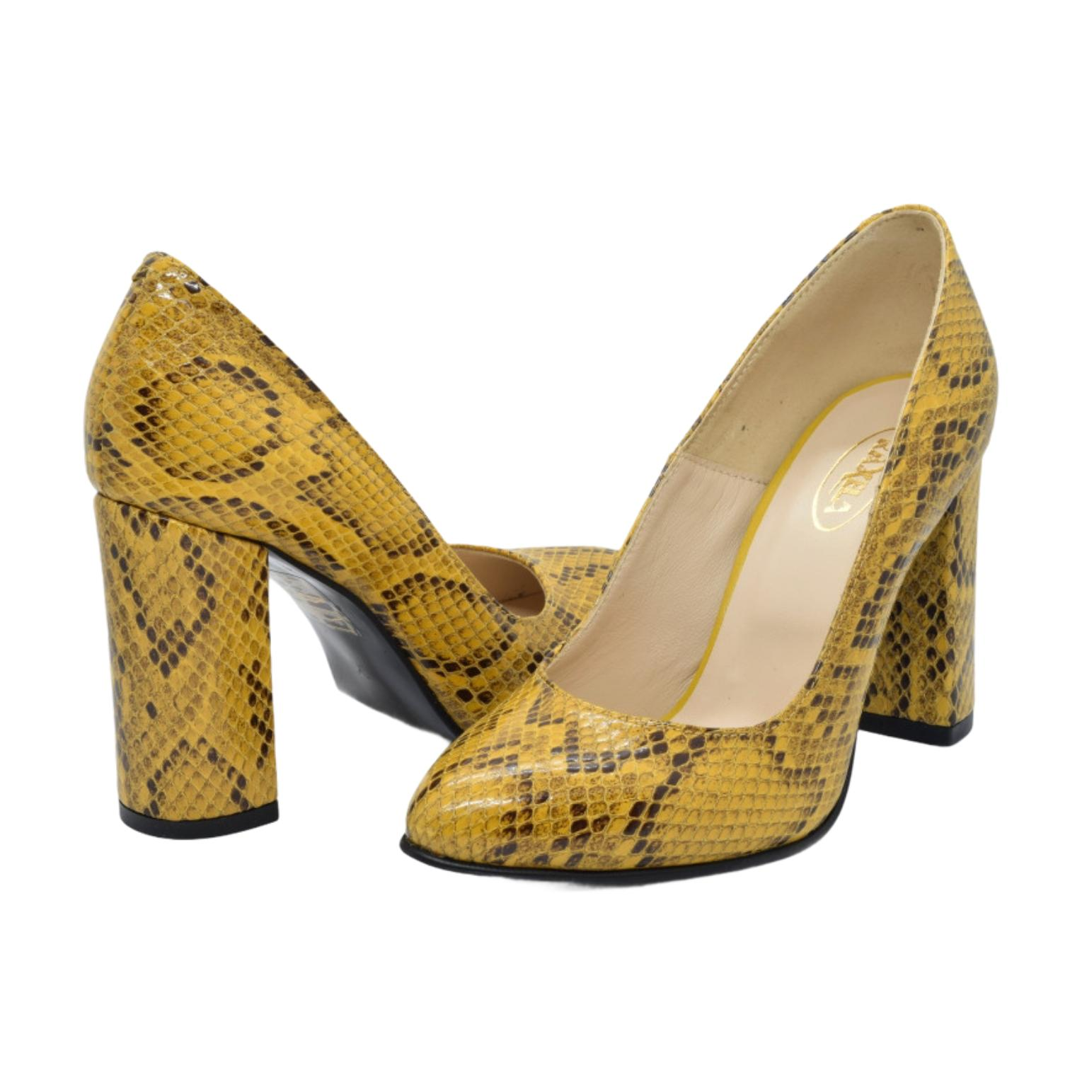 Pantofi galbeni cu imprimeu de sarpe