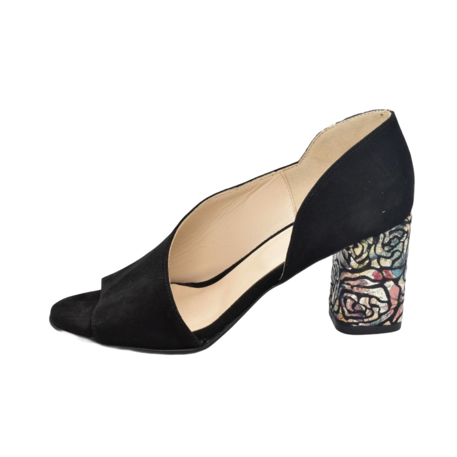 Sandale negre cu toc cu model floral