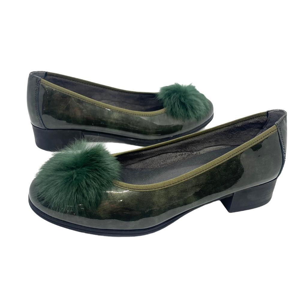Pantofi Pitillos verzi cu accesoriu