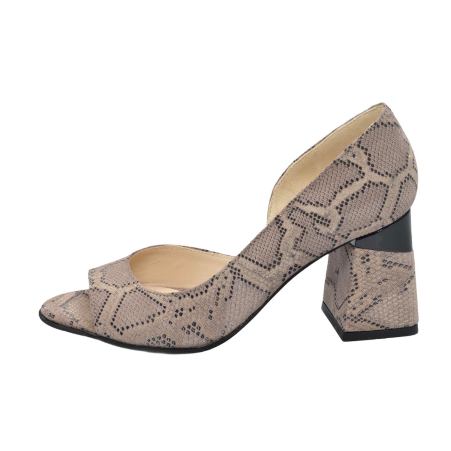 Sandale bej cu imprimeu anaconda