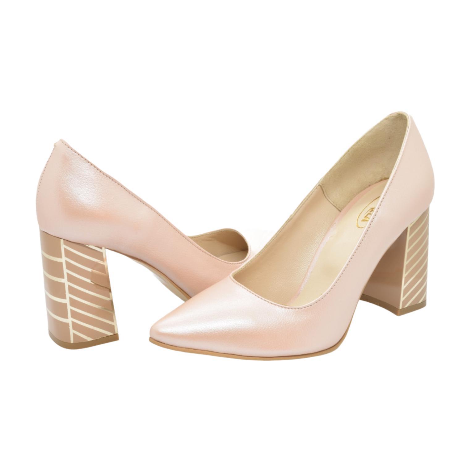 Pantofi pudra cu toc in dungi