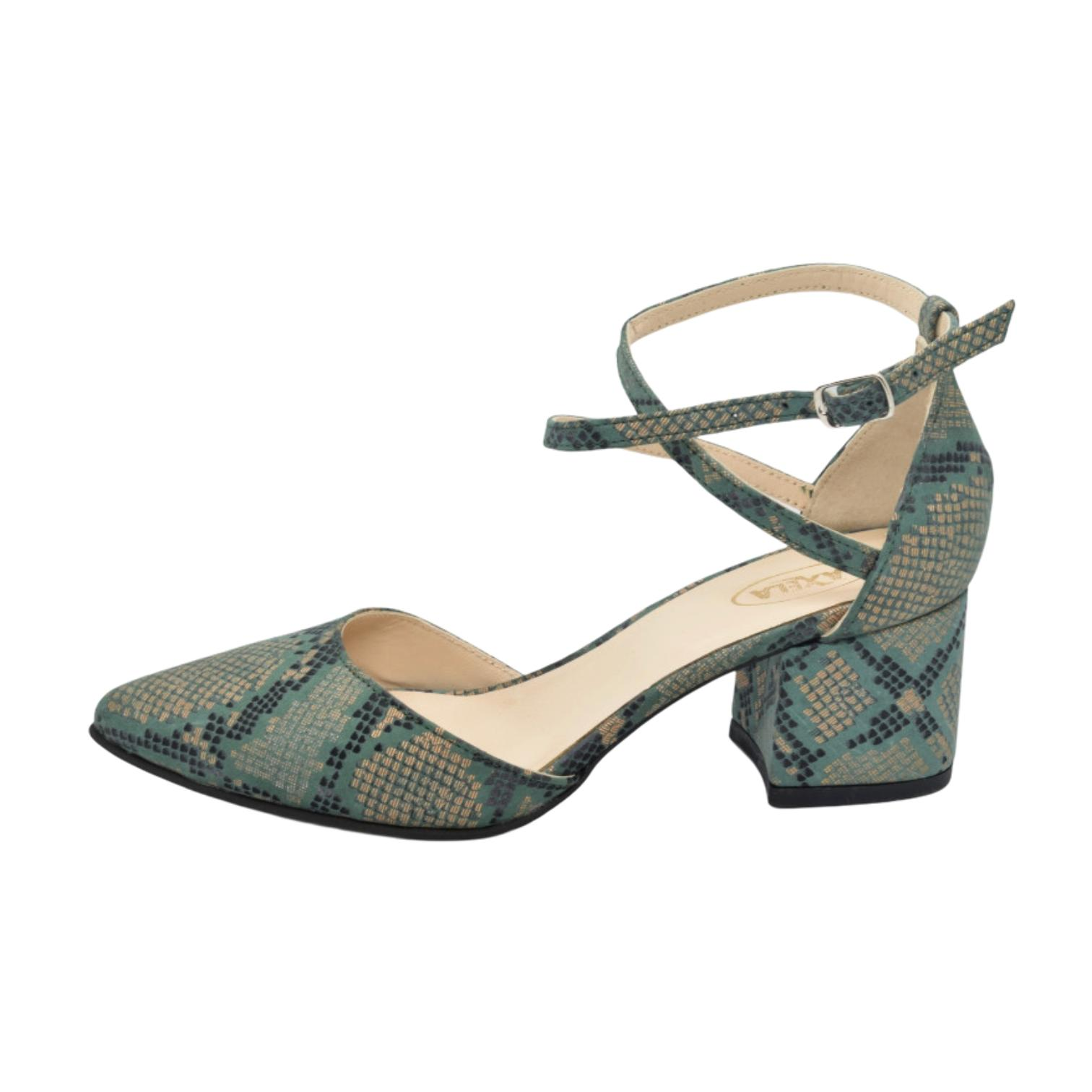 Pantofi decupati verzi cu imprimeu anaconda