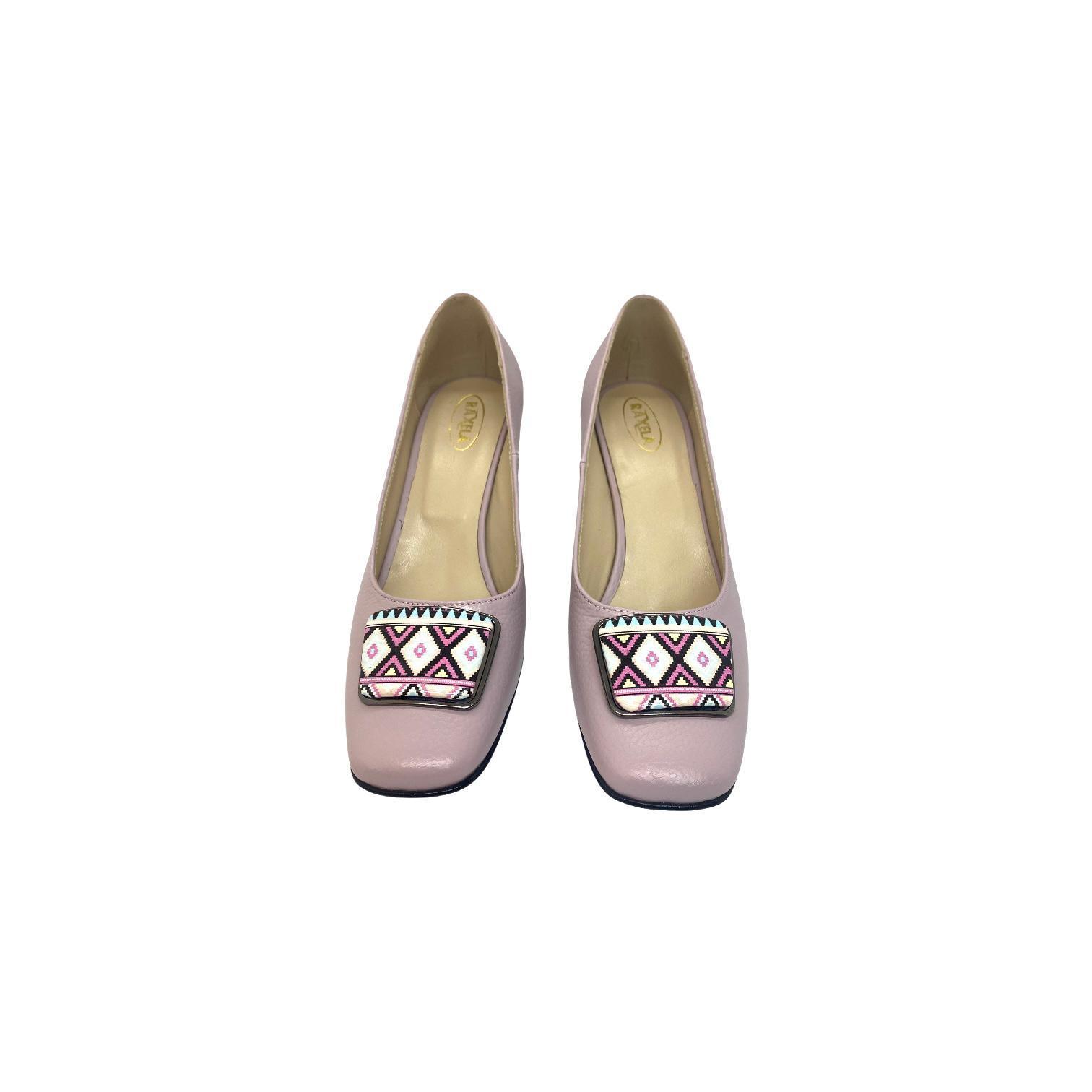 Pantofi lila cu accesoriu si toc cu model