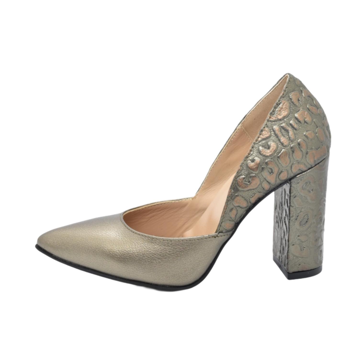 Pantofi aurii cu model abstract