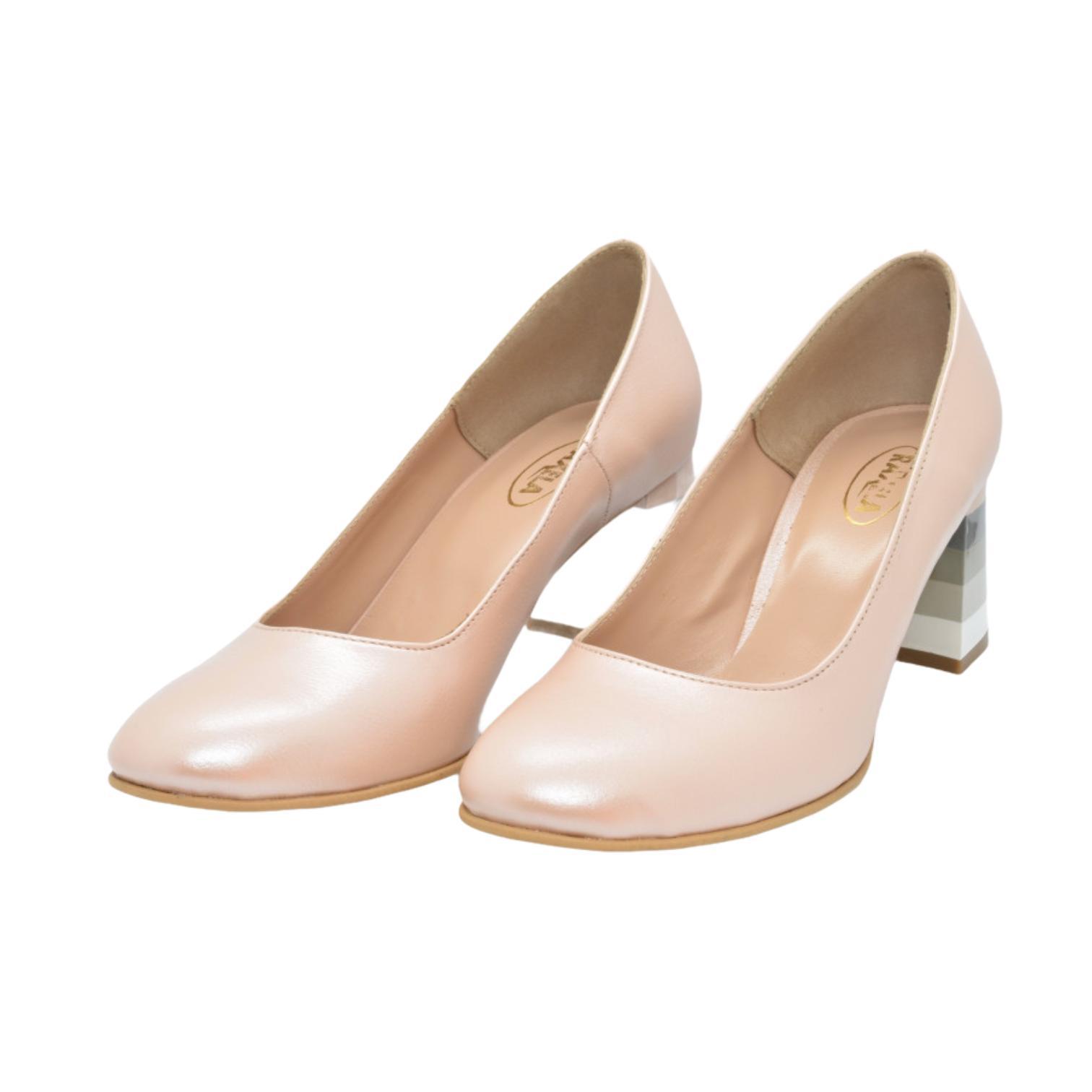 Pantofi pudra cu toc colorat in dungi