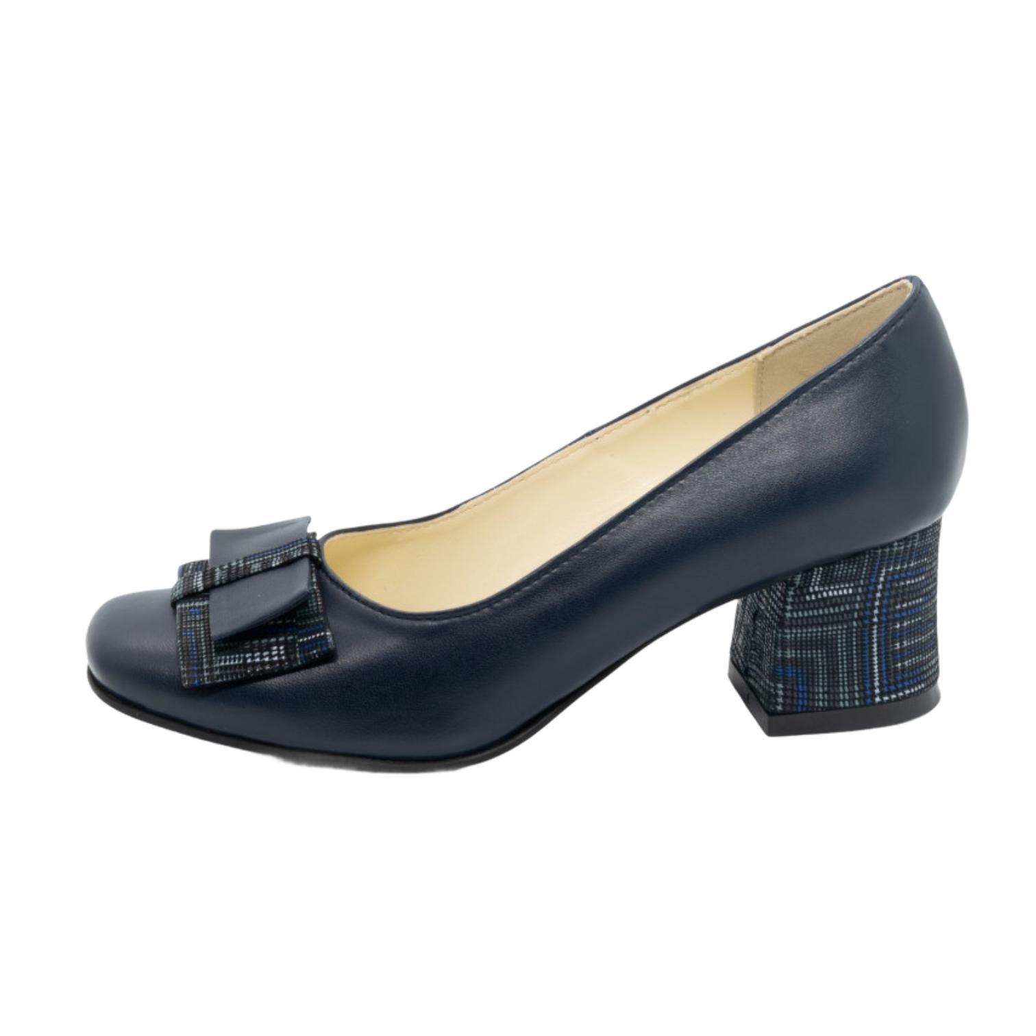 Pantofi bleumarin cu fundita si toc cu model abstract