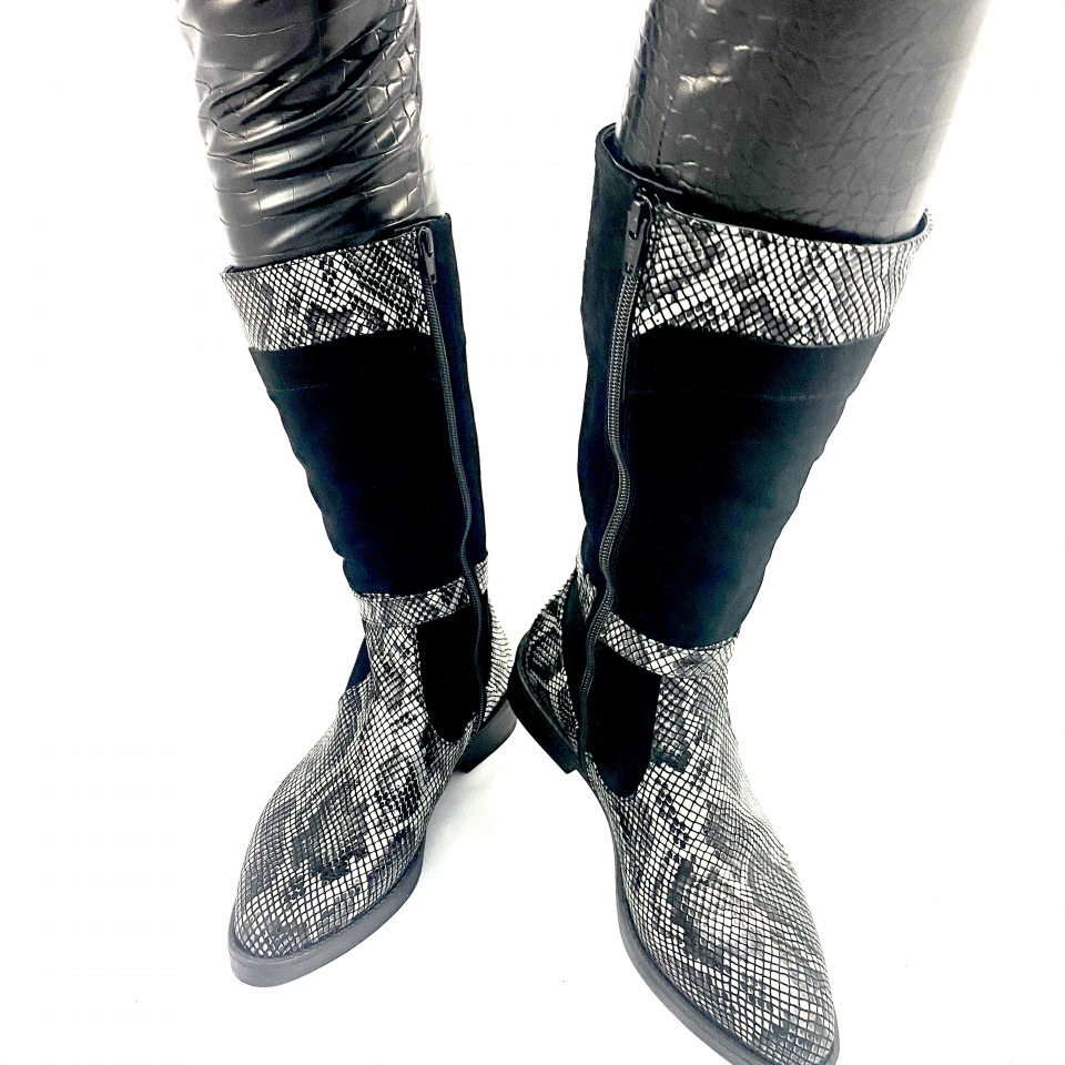 Cizme negre serpino gri