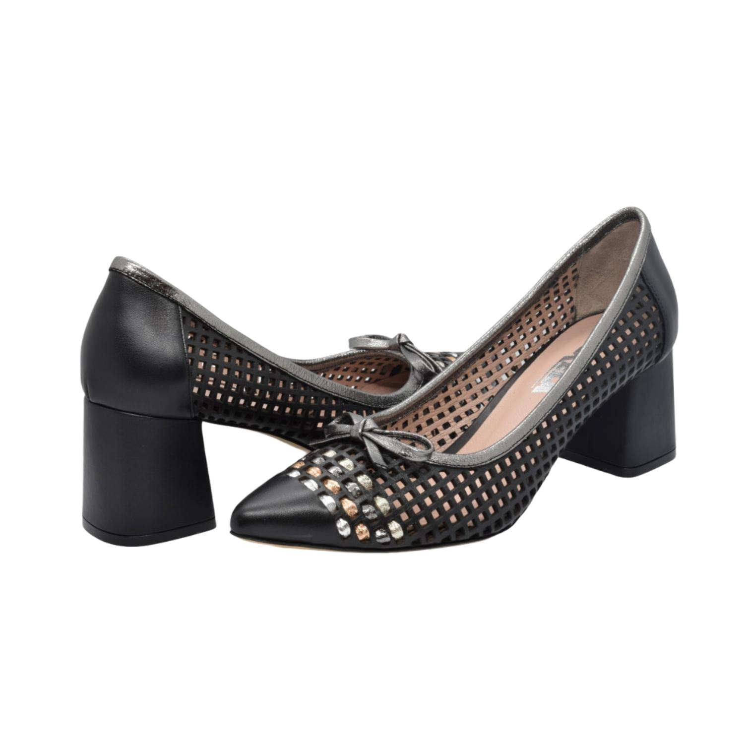 Pantofi negri cu fundita si detaliu colorat