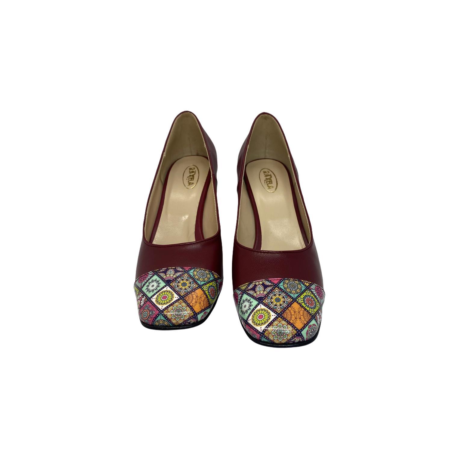 Pantofi dark magenta cu combinatie pe varf