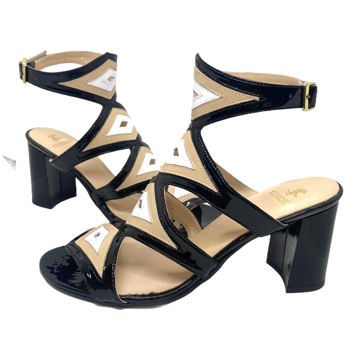 Sandale Kordel negre combinate cu bej si alb