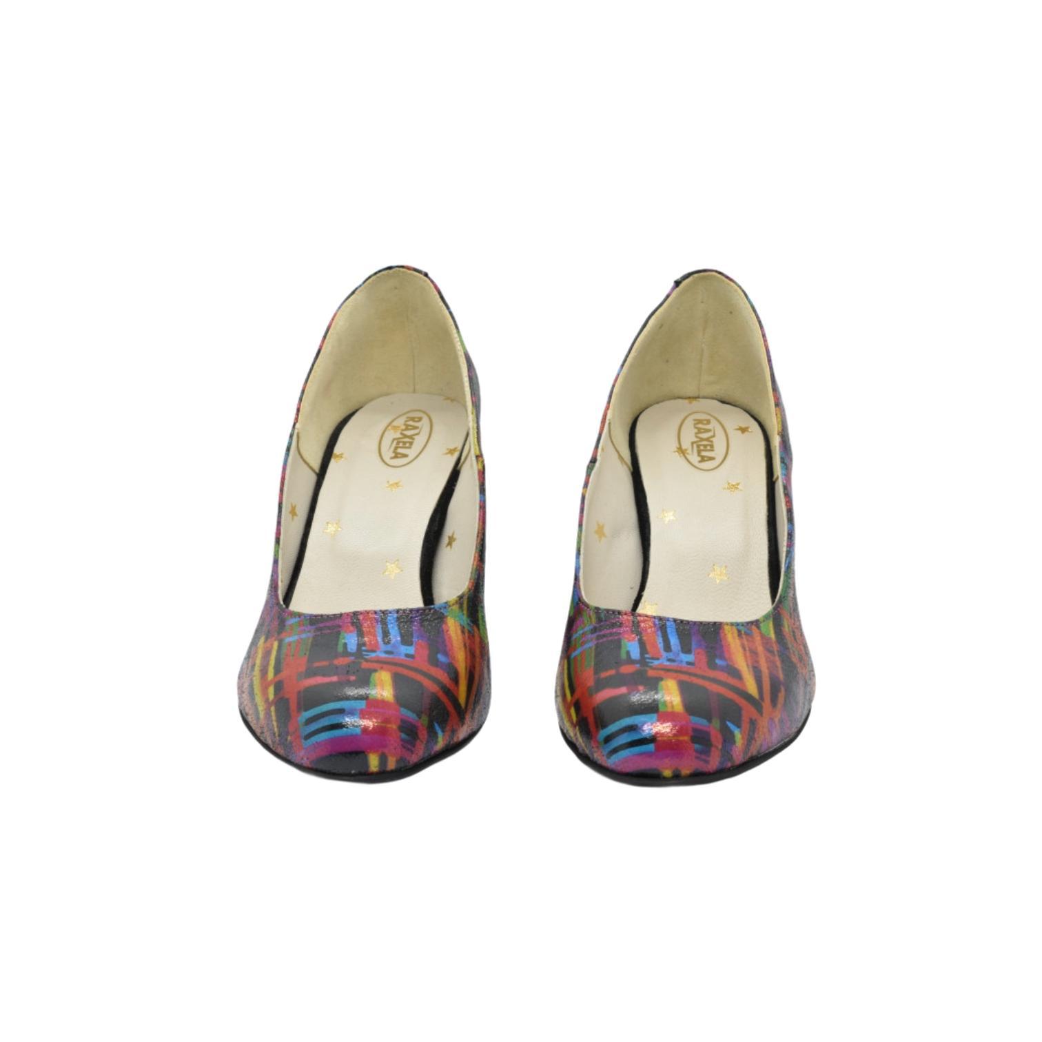 Pantofi multicolori cu model abstract