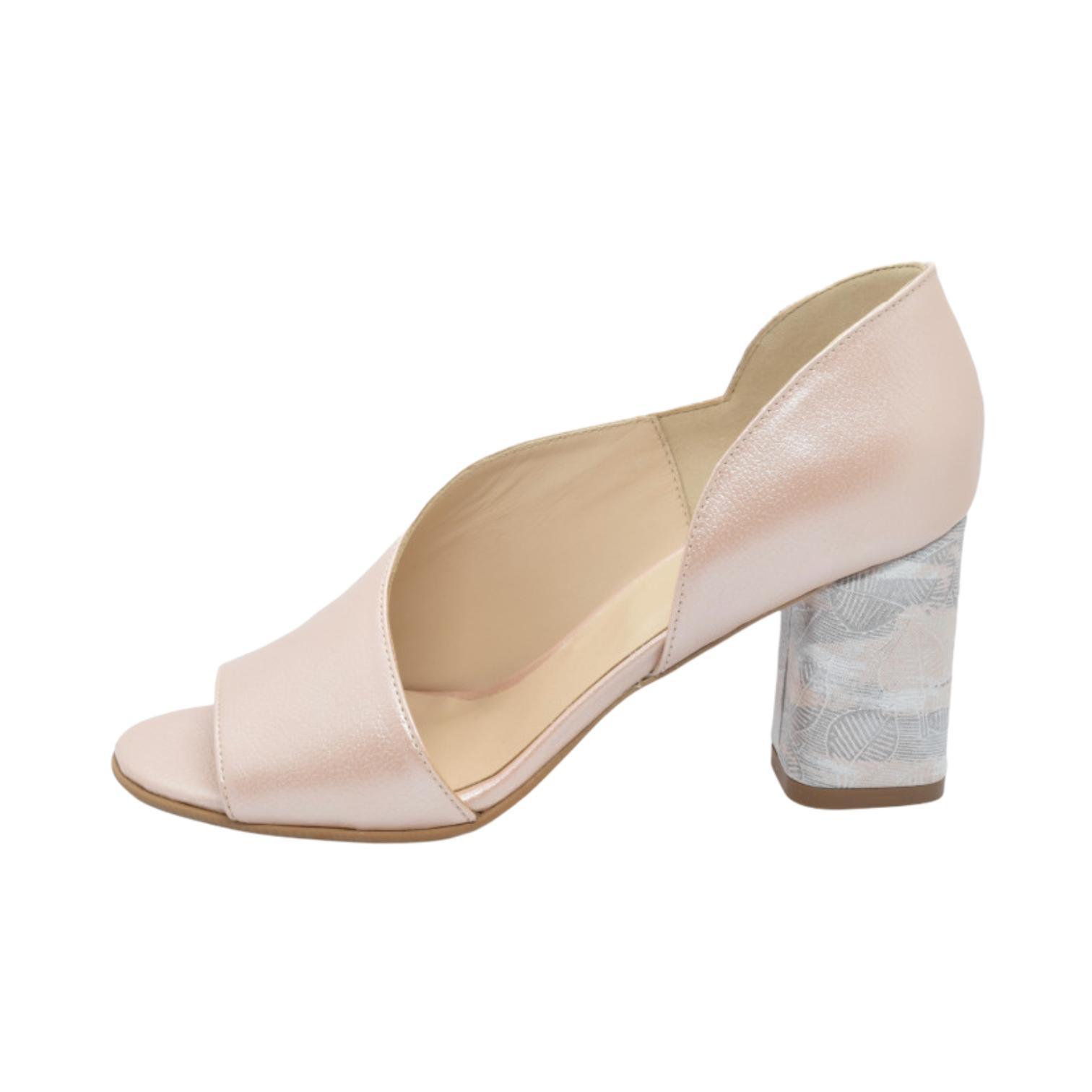 Sandale pudra cu toc cu model floral