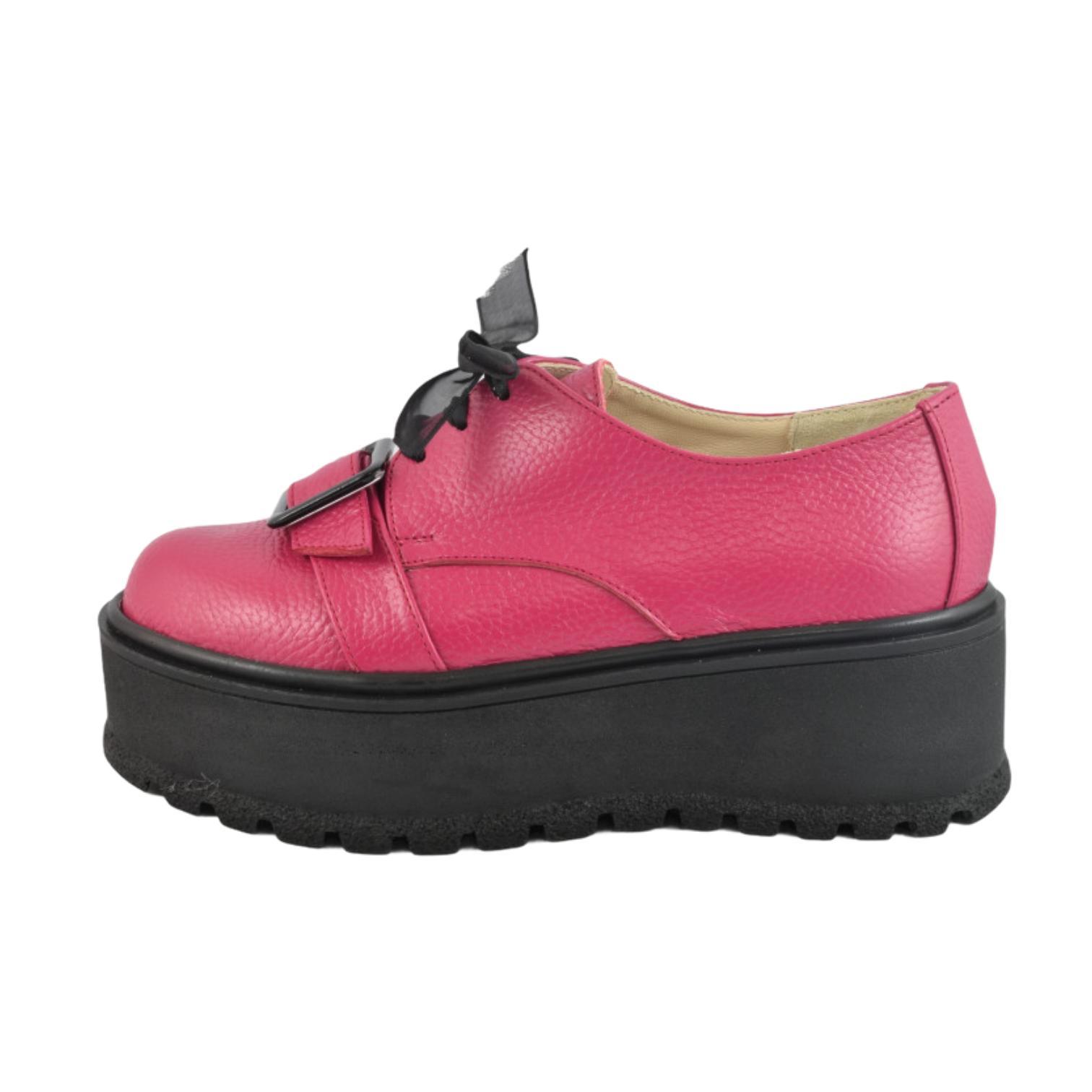 Pantofi fuchsia cu accesoriu si platforma