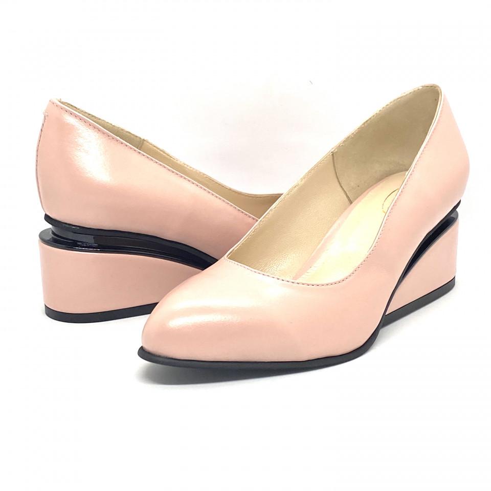 Pantofi pudra cu toc ortopedic