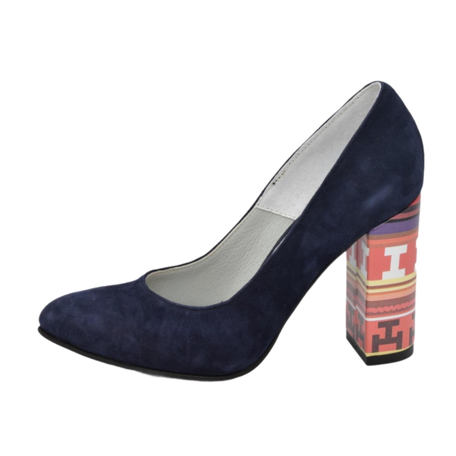 Pantofi bleumarin cu toc colorat