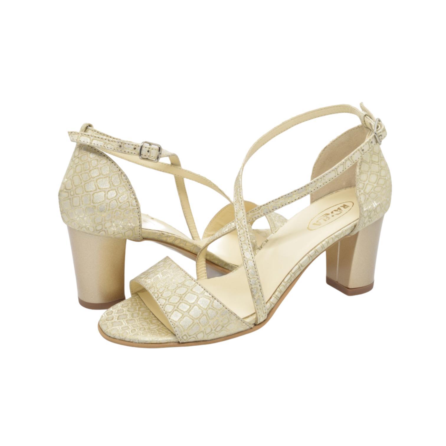 Sandale aurii cu imprimeu si barete incrucisate